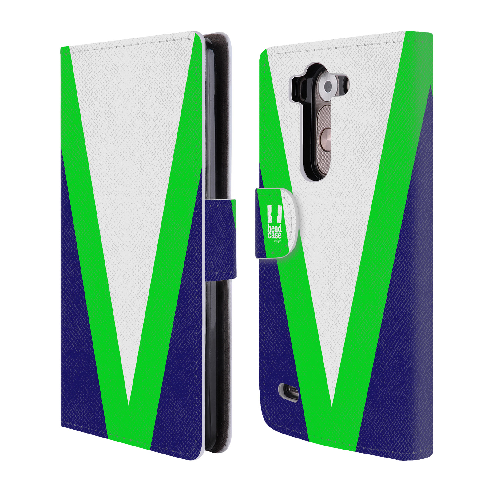 HEAD CASE Flipové pouzdro pro mobil LG G3s barevné tvary zelená a modrá