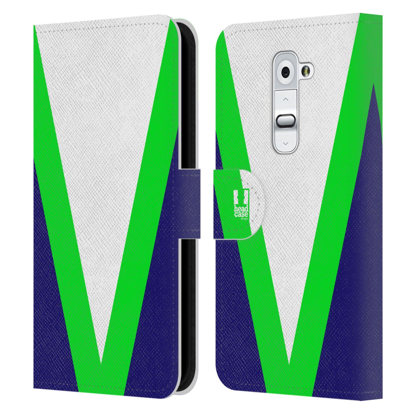 HEAD CASE Flipové pouzdro pro mobil LG G2 barevné tvary zelená a modrá