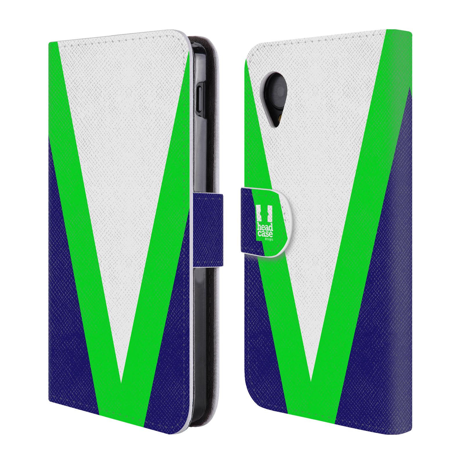 HEAD CASE Flipové pouzdro pro mobil LG GOOGLE NEXUS 5 barevné tvary zelená a modrá