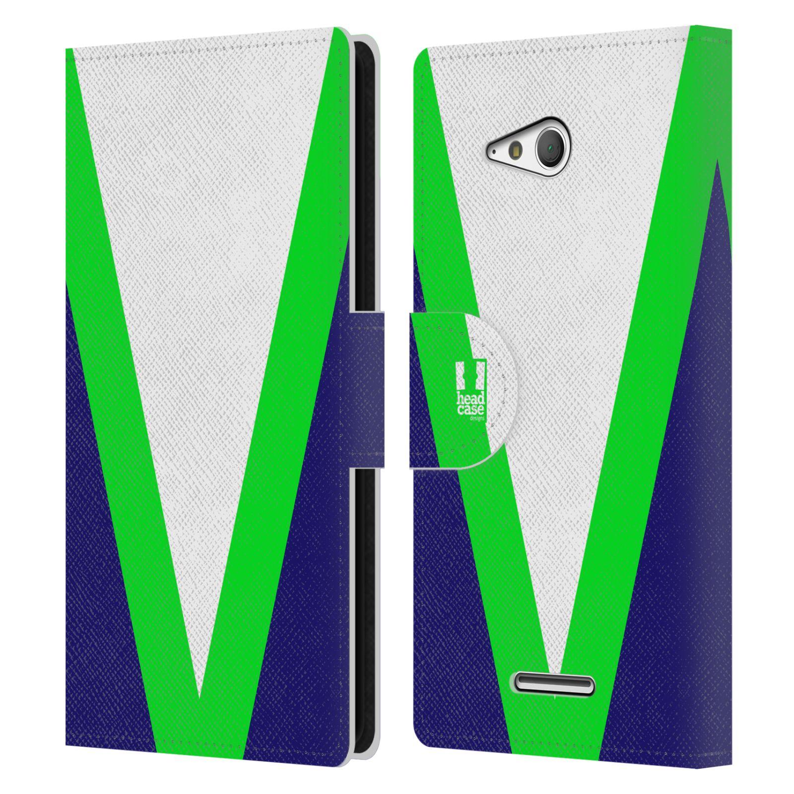 HEAD CASE Flipové pouzdro pro mobil SONY Xperia E4g barevné tvary zelená a modrá
