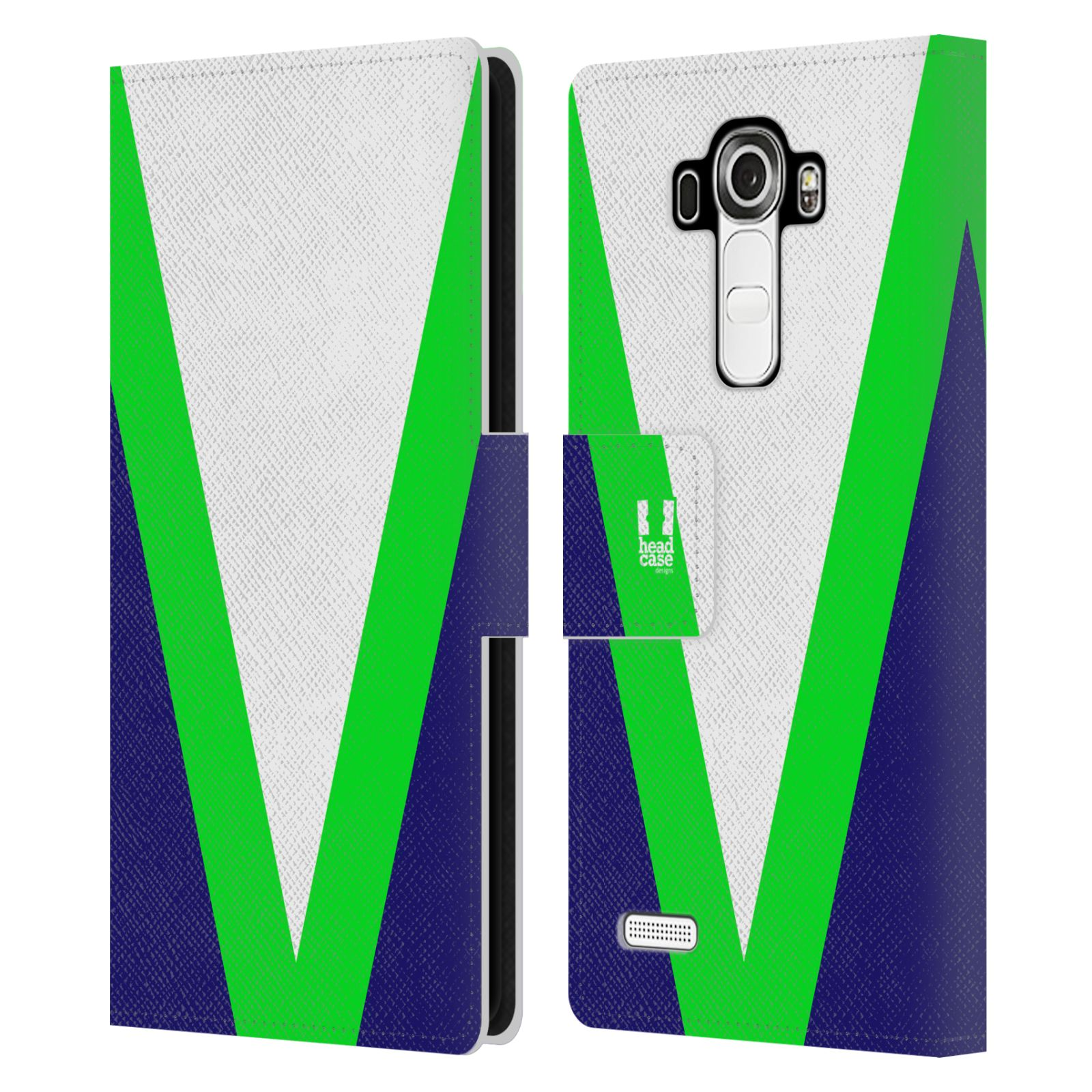 HEAD CASE Flipové pouzdro pro mobil LG G4 barevné tvary zelená a modrá