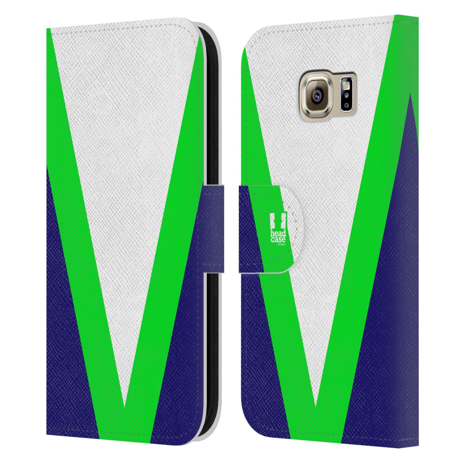 HEAD CASE Flipové pouzdro pro mobil Samsung Galaxy S6 barevné tvary zelená a modrá
