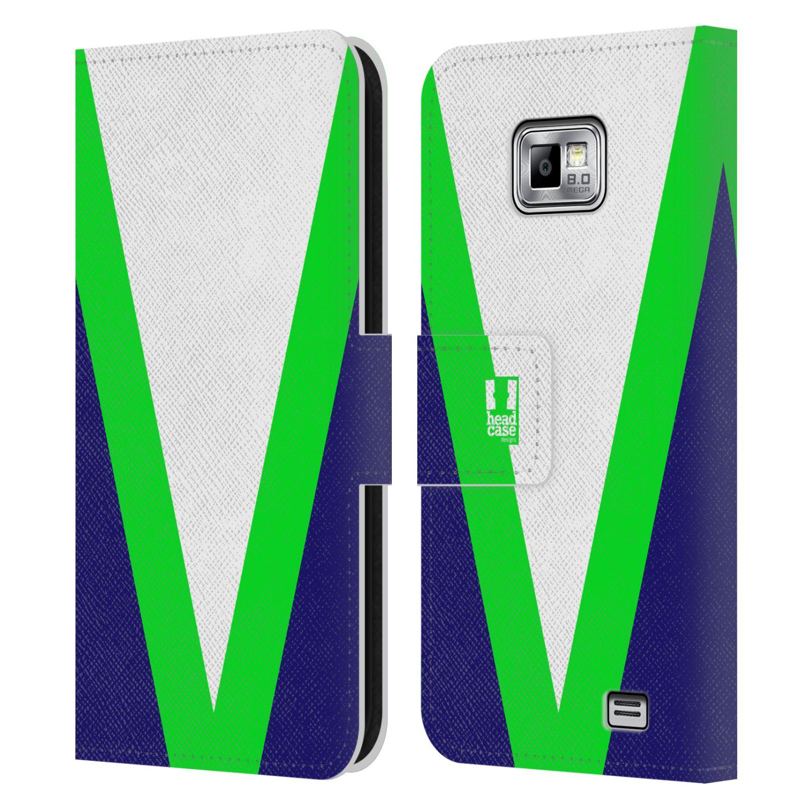 HEAD CASE Flipové pouzdro pro mobil Samsung Galaxy S2 i9100 barevné tvary zelená a modrá