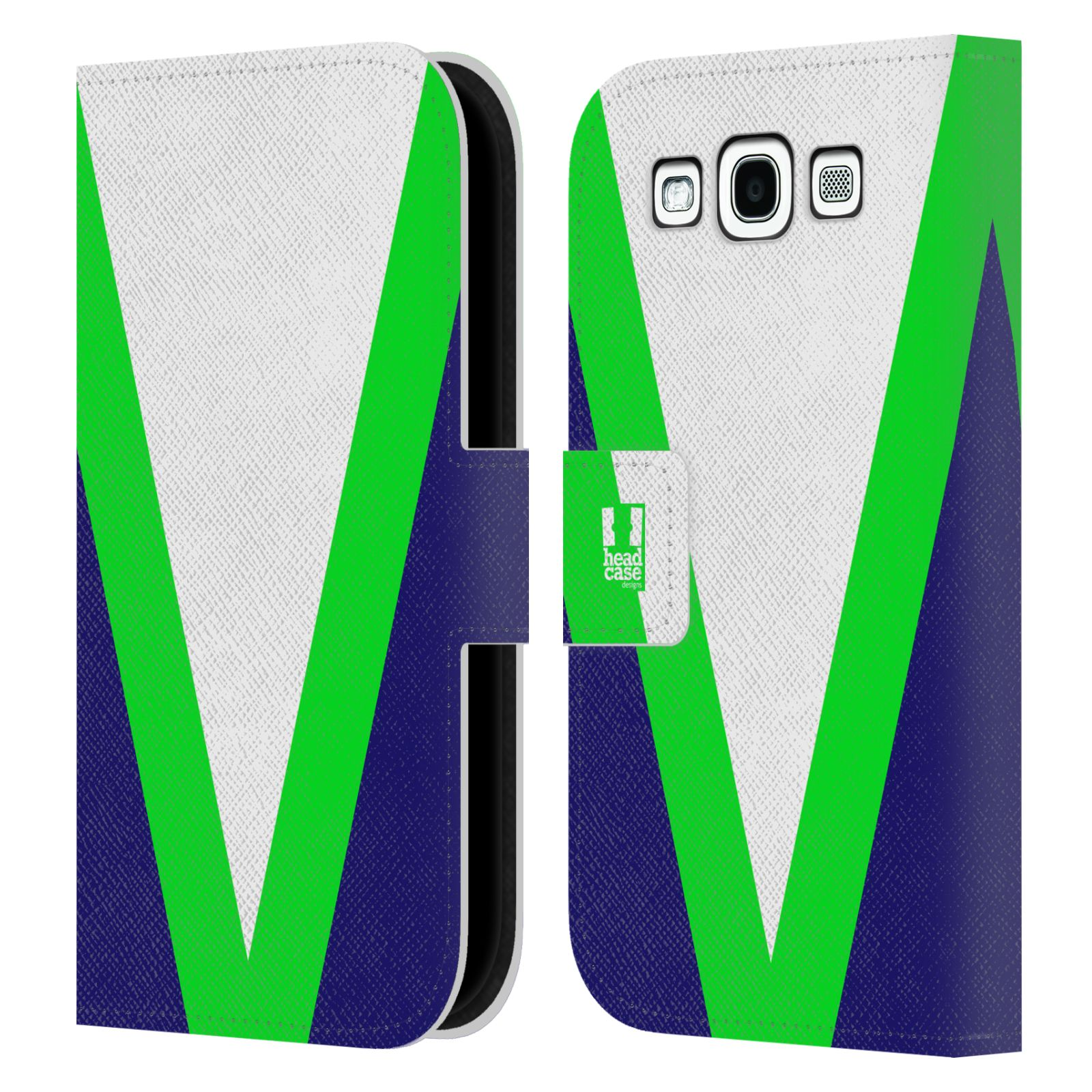 HEAD CASE Flipové pouzdro pro mobil Samsung Galaxy S3 I9300 barevné tvary zelená a modrá