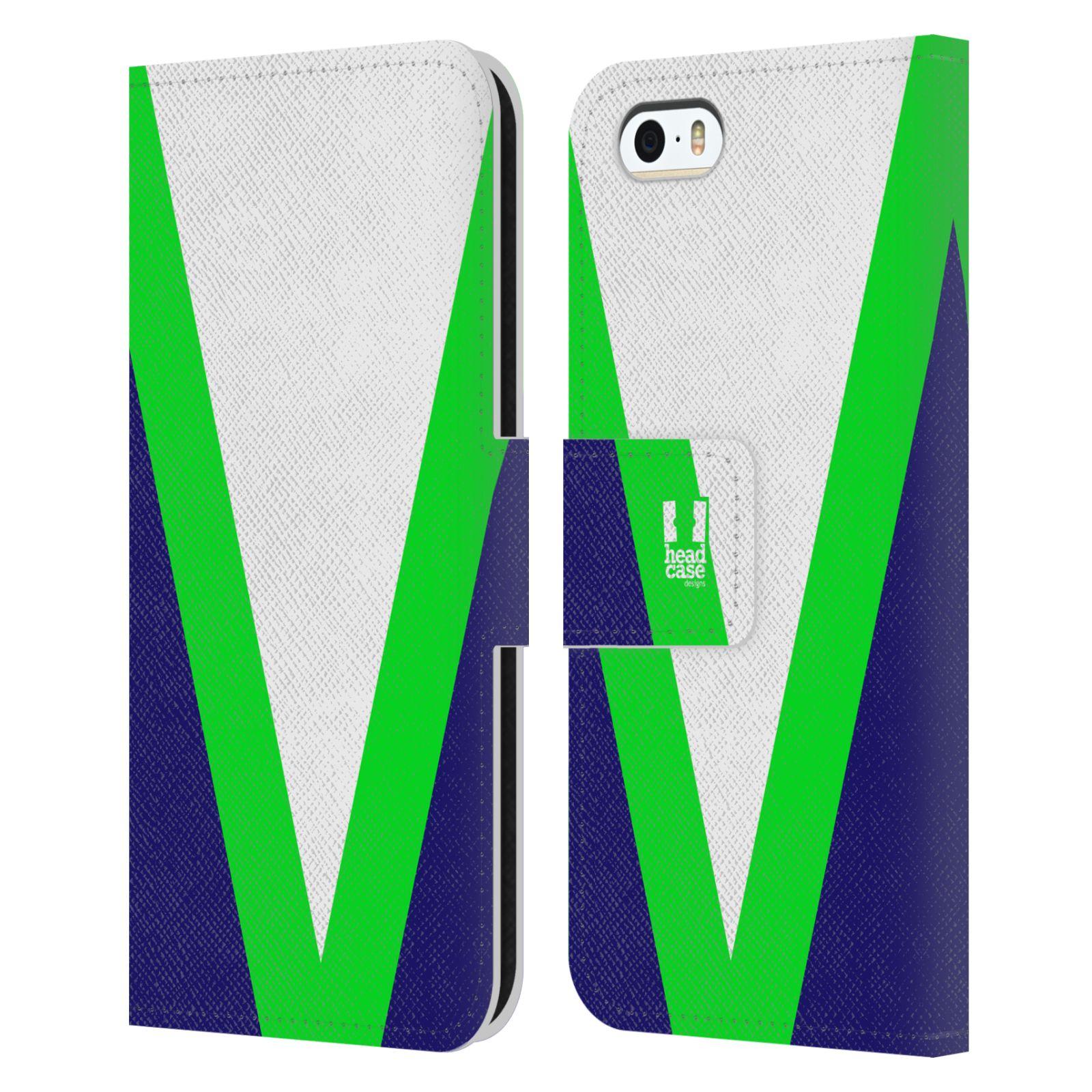 HEAD CASE Flipové pouzdro pro mobil Apple Iphone 5/5S barevné tvary zelená a modrá