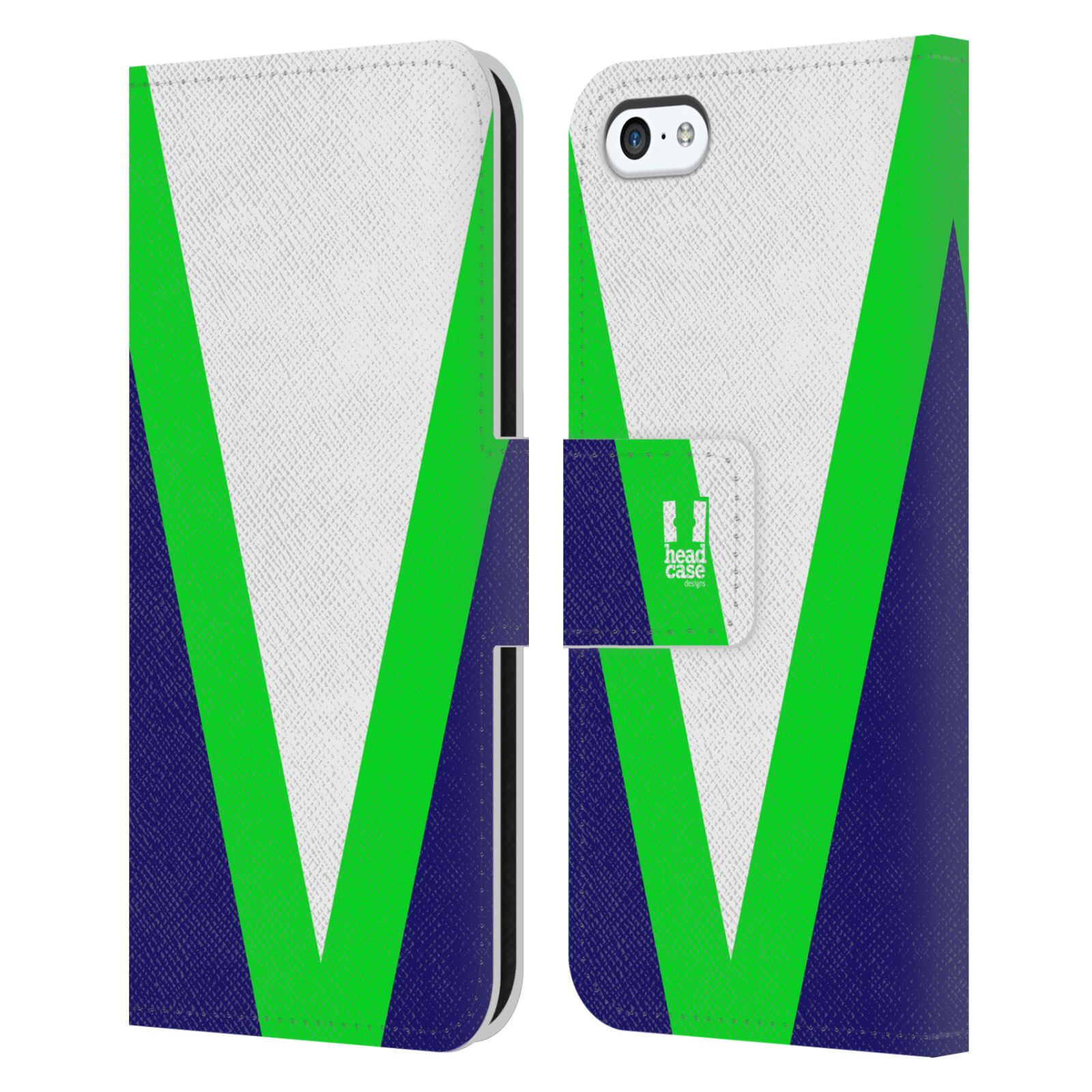HEAD CASE Flipové pouzdro pro mobil Apple Iphone 5C barevné tvary zelená a modrá