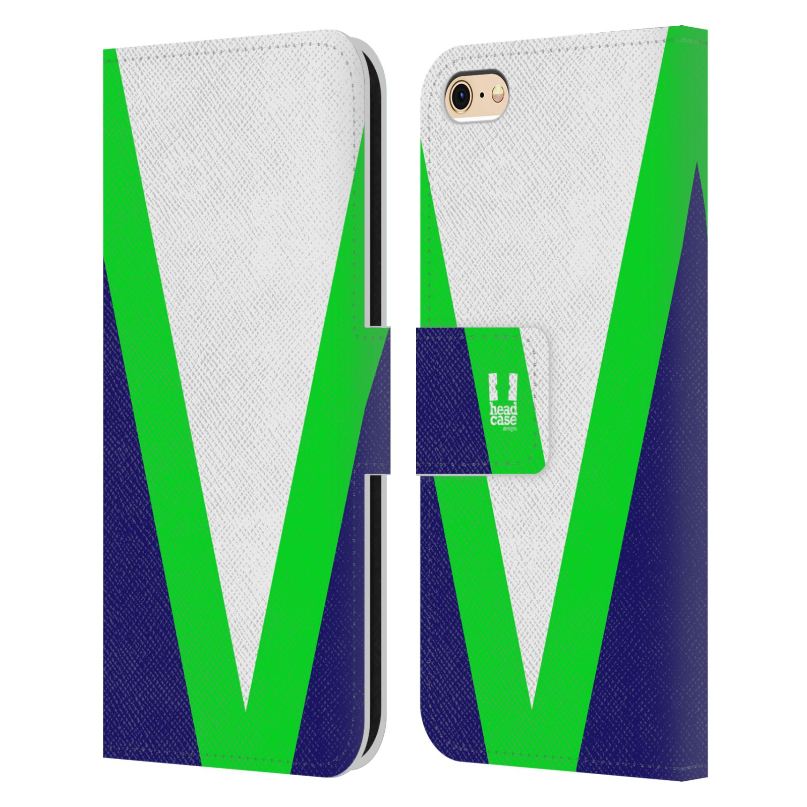 HEAD CASE Flipové pouzdro pro mobil Apple Iphone 6/6s barevné tvary zelená a modrá