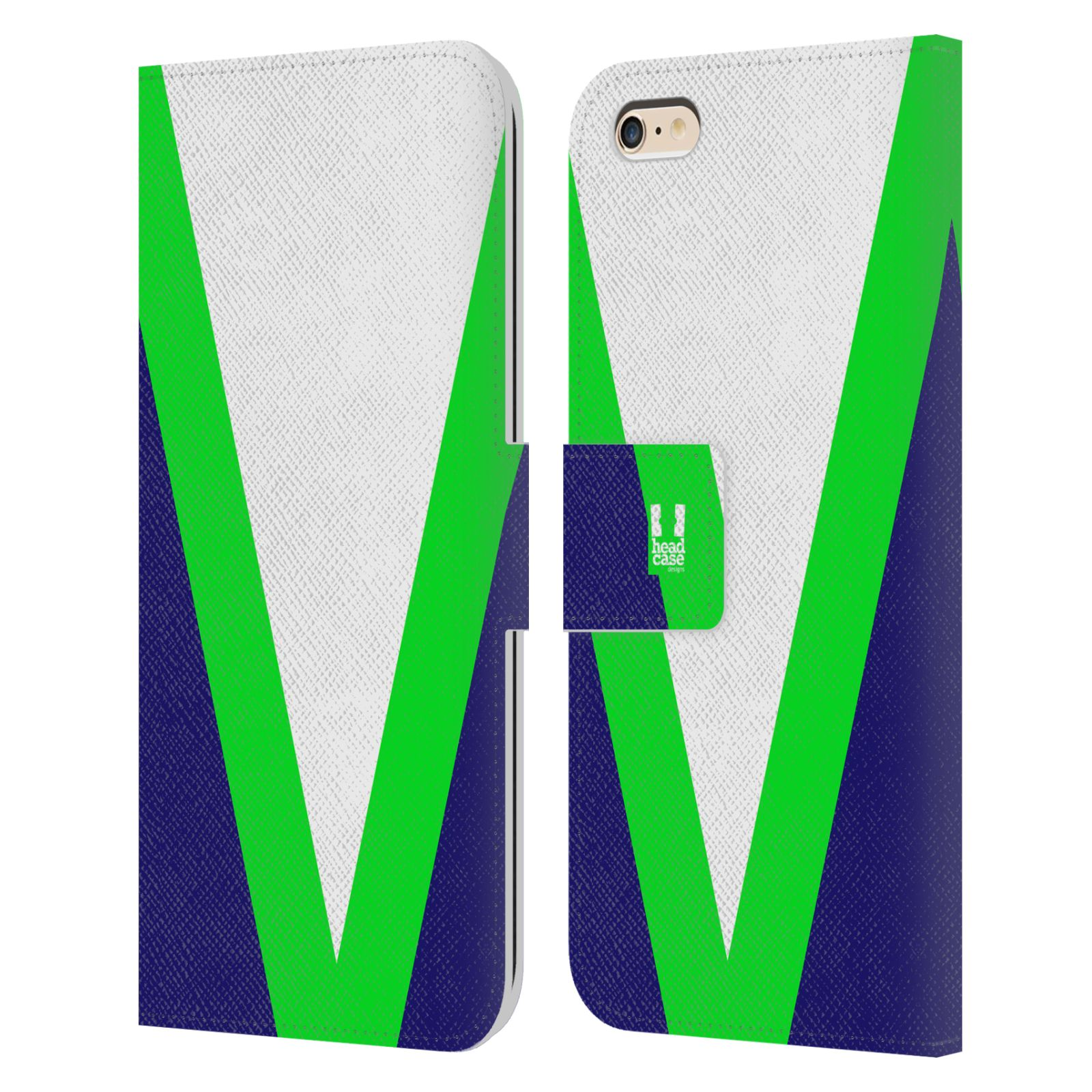 HEAD CASE Flipové pouzdro pro mobil Apple Iphone 6 PLUS/6S PLUS barevné tvary zelená a modrá