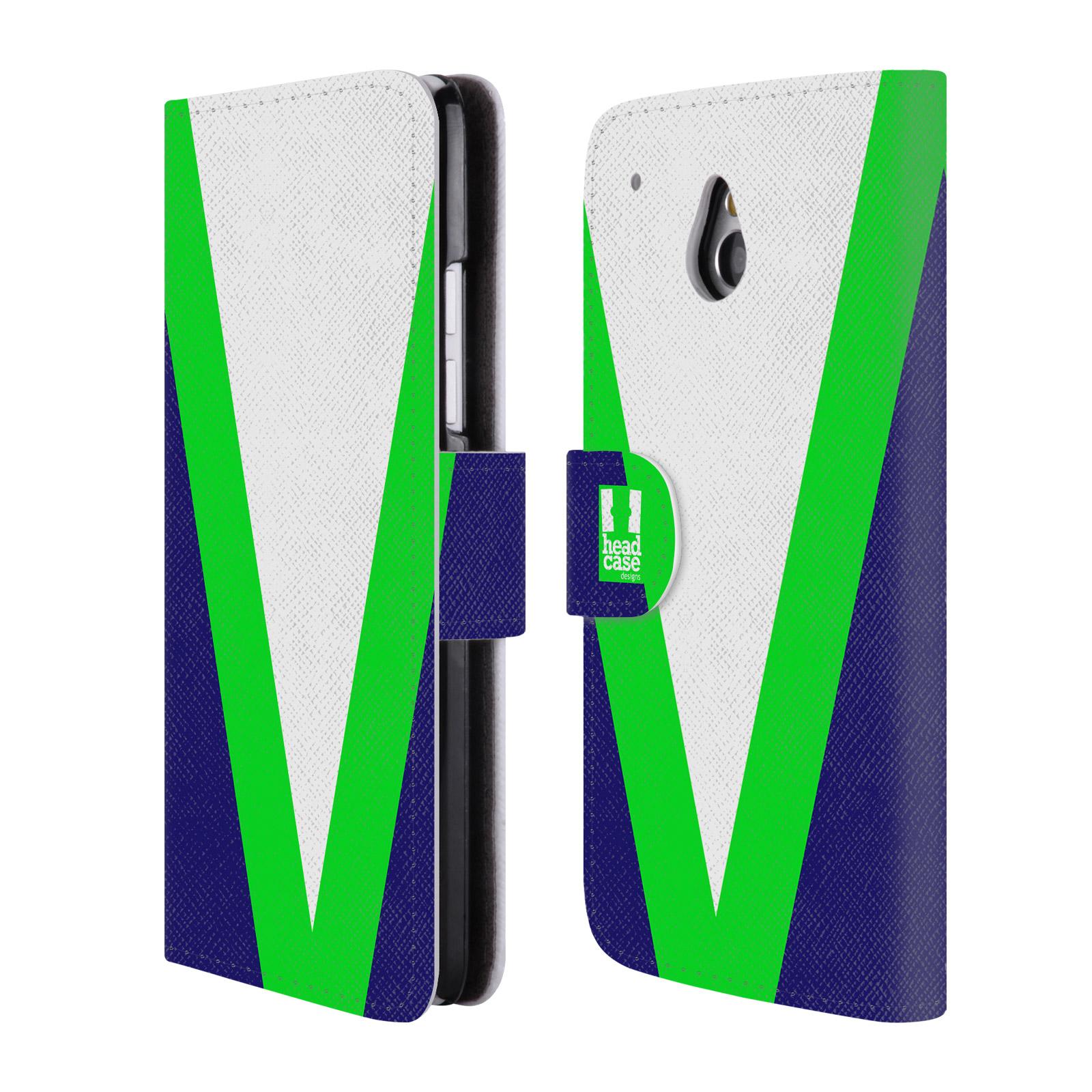 HEAD CASE Flipové pouzdro pro mobil HTC ONE MINI barevné tvary zelená a modrá