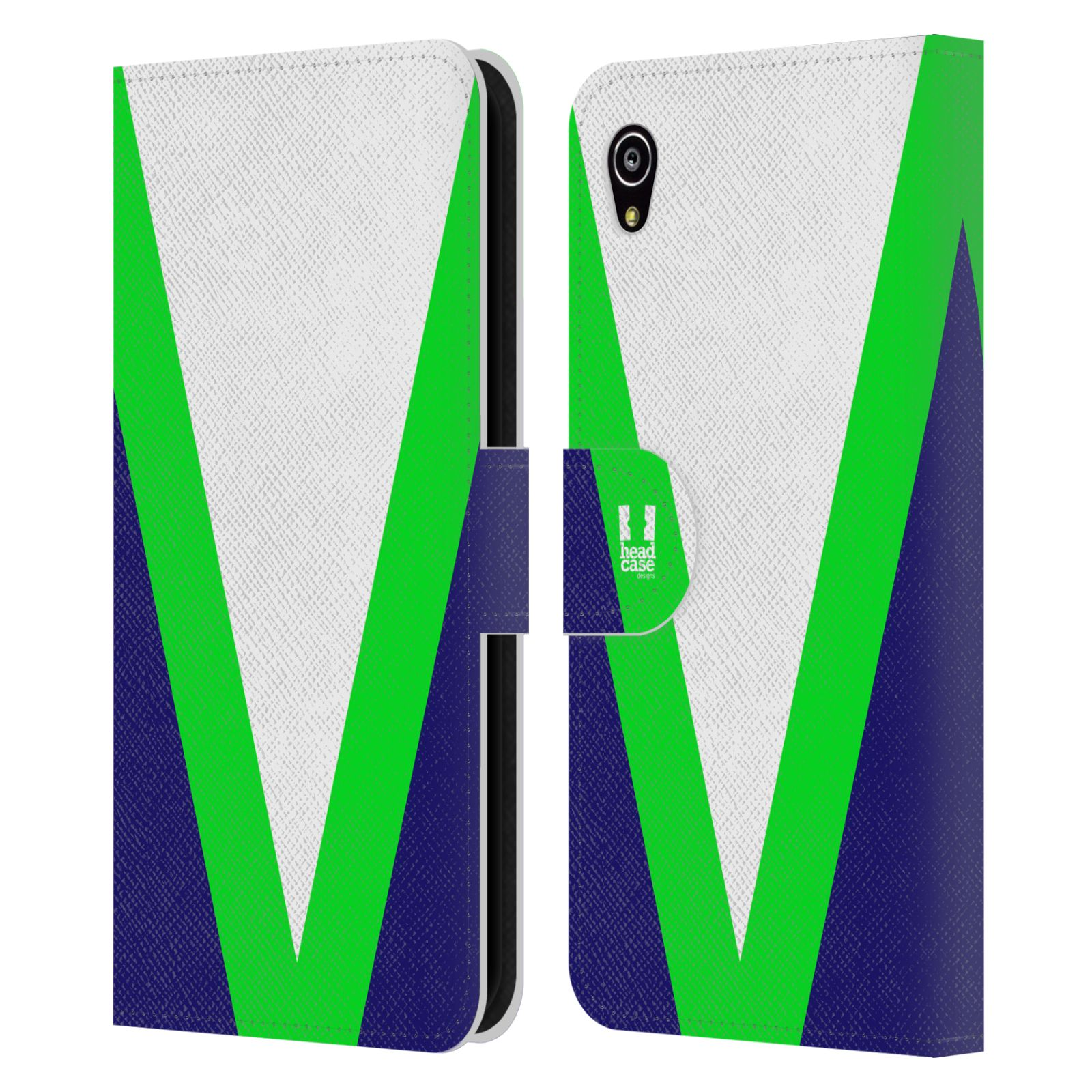 HEAD CASE Flipové pouzdro pro mobil SONY Xperia M4 Aqua barevné tvary zelená a modrá