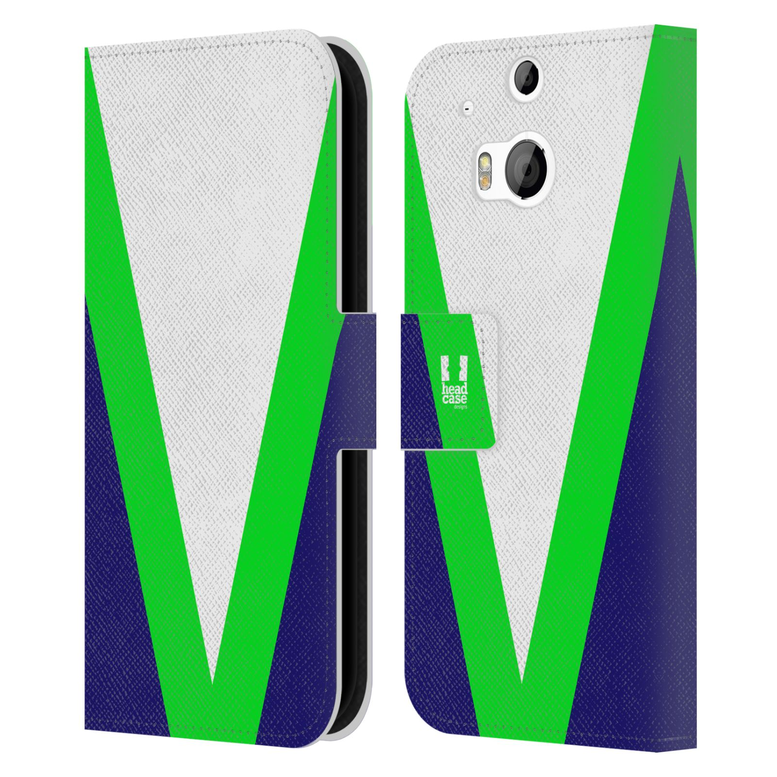 HEAD CASE Flipové pouzdro pro mobil HTC ONE M8/M8s barevné tvary zelená a modrá