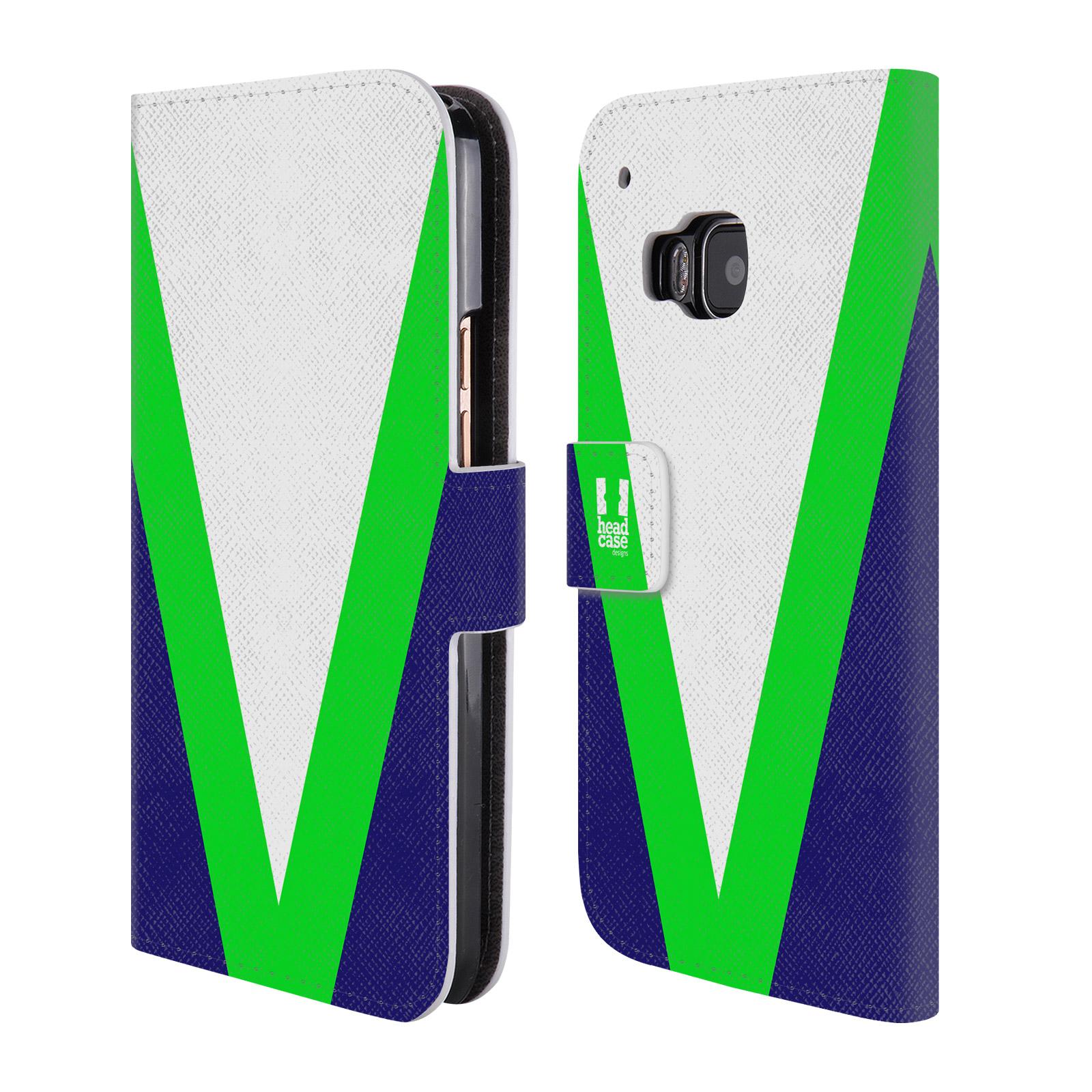 HEAD CASE Flipové pouzdro pro mobil HTC ONE M9 barevné tvary zelená a modrá