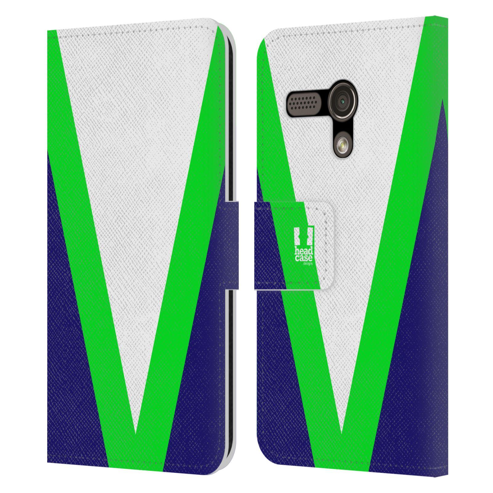 HEAD CASE Flipové pouzdro pro mobil Motorola MOTO G barevné tvary zelená a modrá