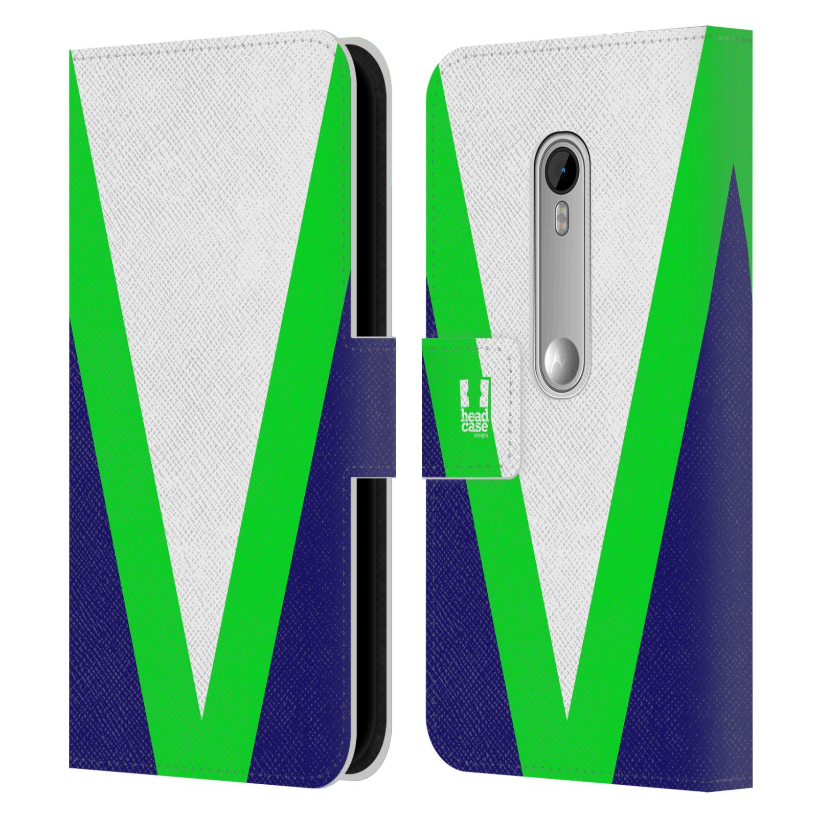 HEAD CASE Flipové pouzdro pro mobil Motorola MOTO G 3RD GENERATION barevné tvary zelená a modrá