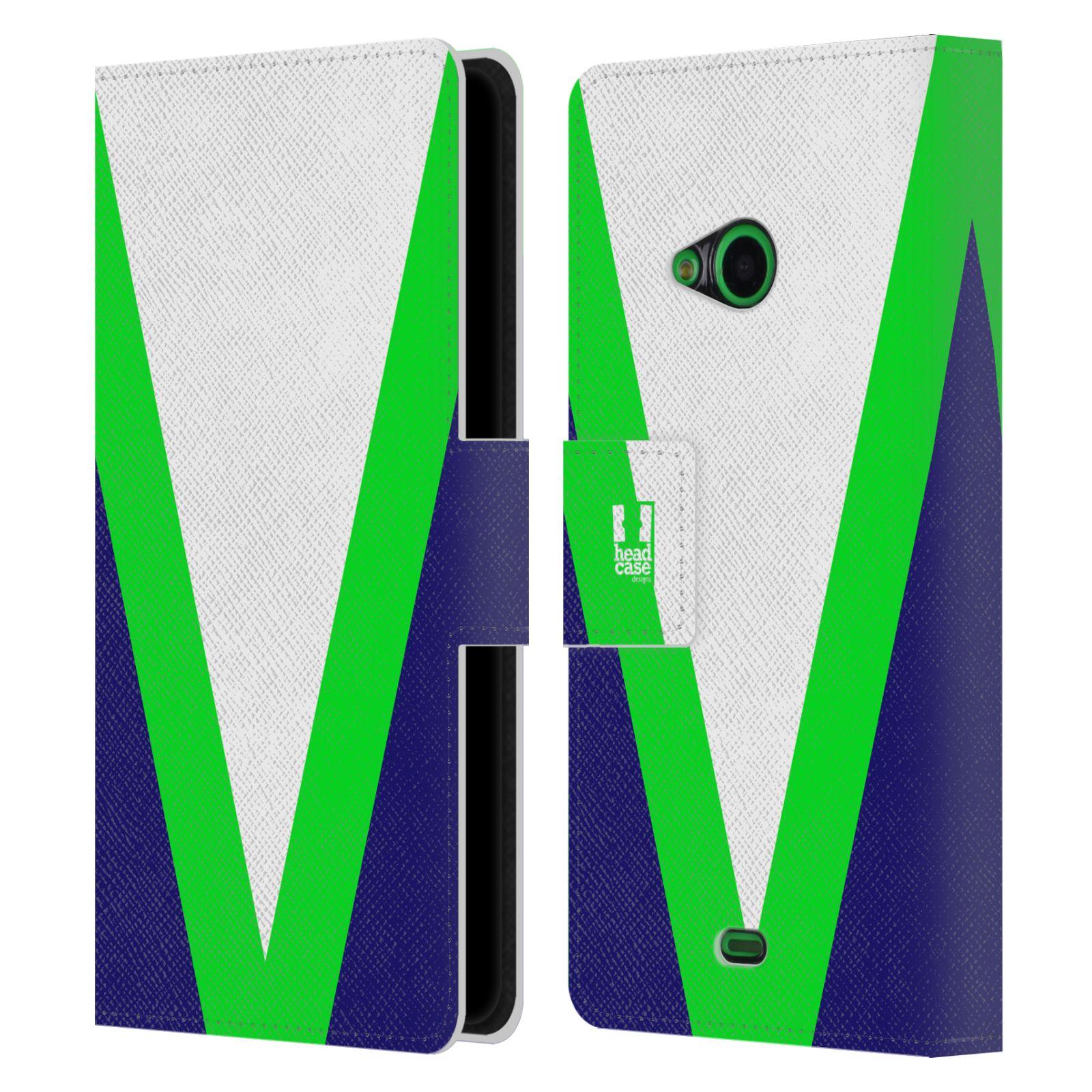 HEAD CASE Flipové pouzdro pro mobil Nokia LUMIA 535 barevné tvary zelená a modrá