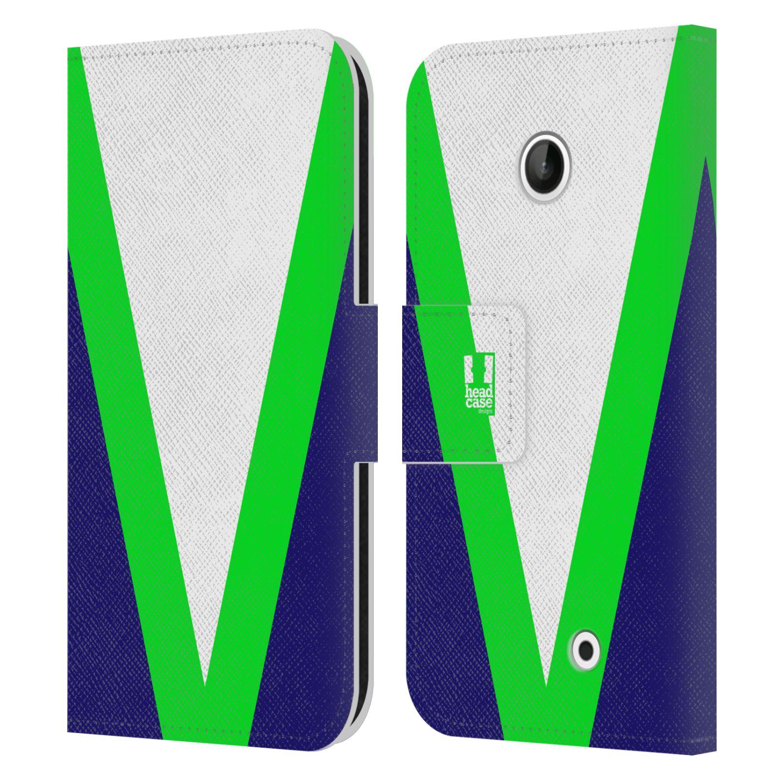 HEAD CASE Flipové pouzdro pro mobil Nokia LUMIA 630/630 DUAL barevné tvary zelená a modrá