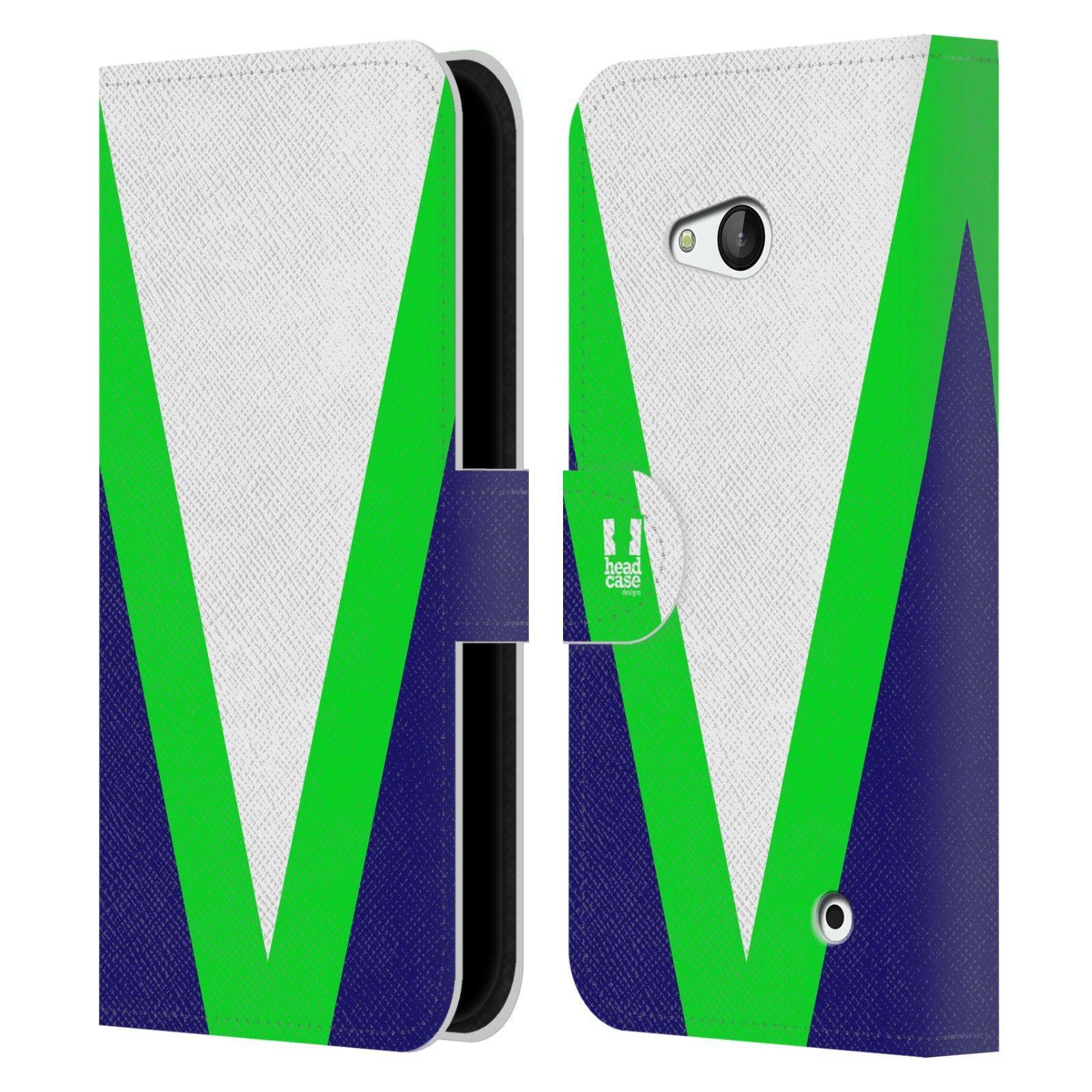 HEAD CASE Flipové pouzdro pro mobil Nokia LUMIA 640 barevné tvary zelená a modrá