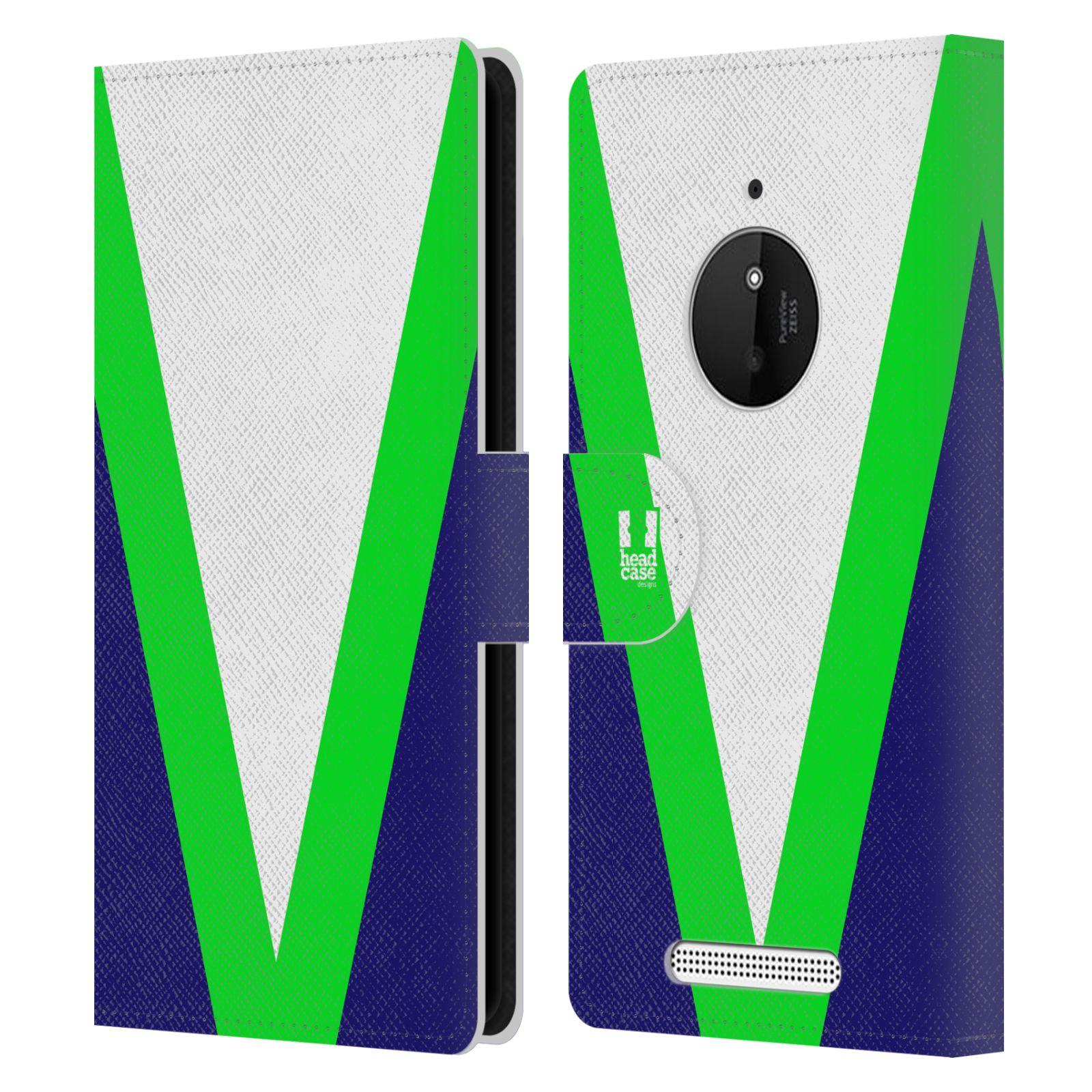 HEAD CASE Flipové pouzdro pro mobil Nokia LUMIA 830 barevné tvary zelená a modrá