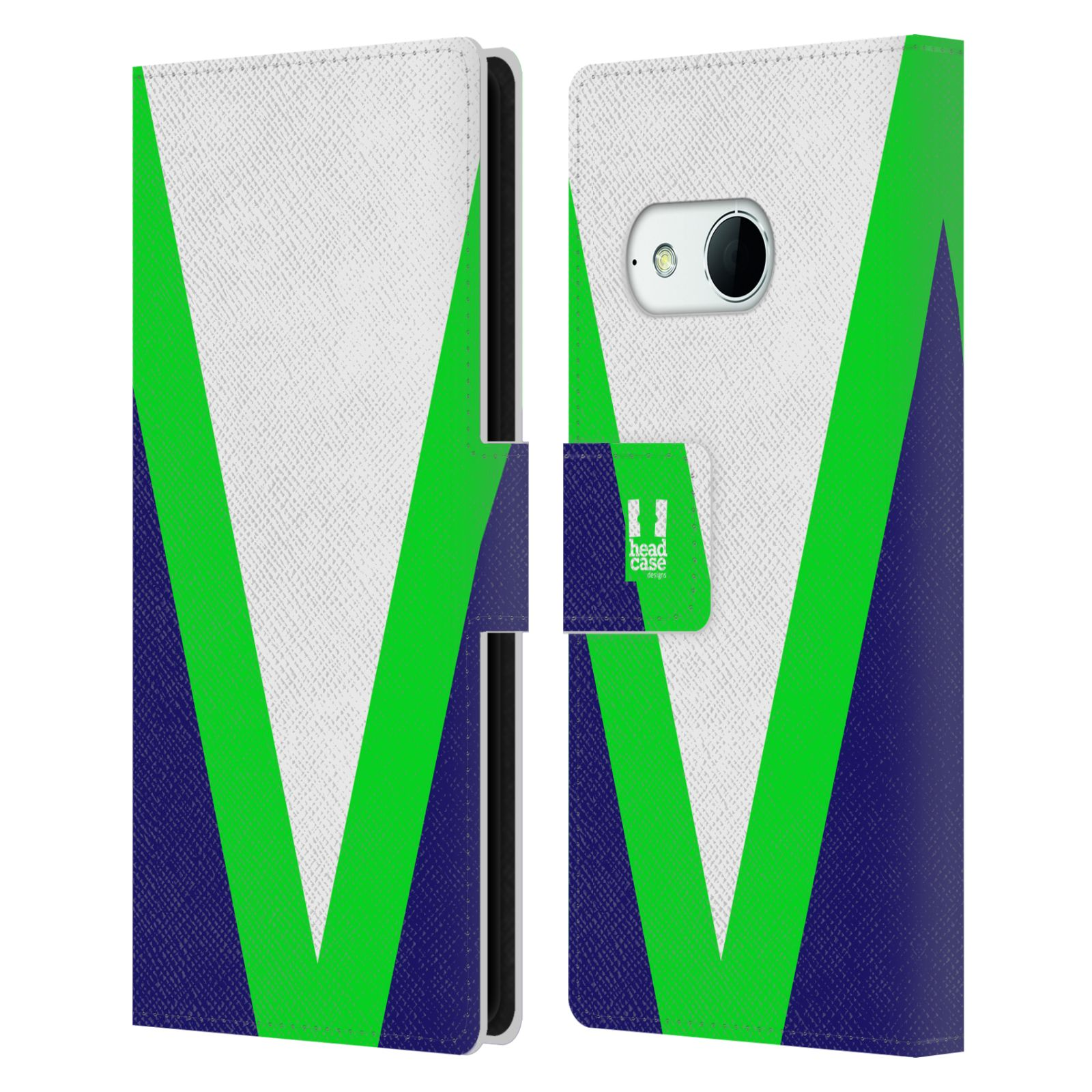 HEAD CASE Flipové pouzdro pro mobil HTC ONE MINI 2 barevné tvary zelená a modrá