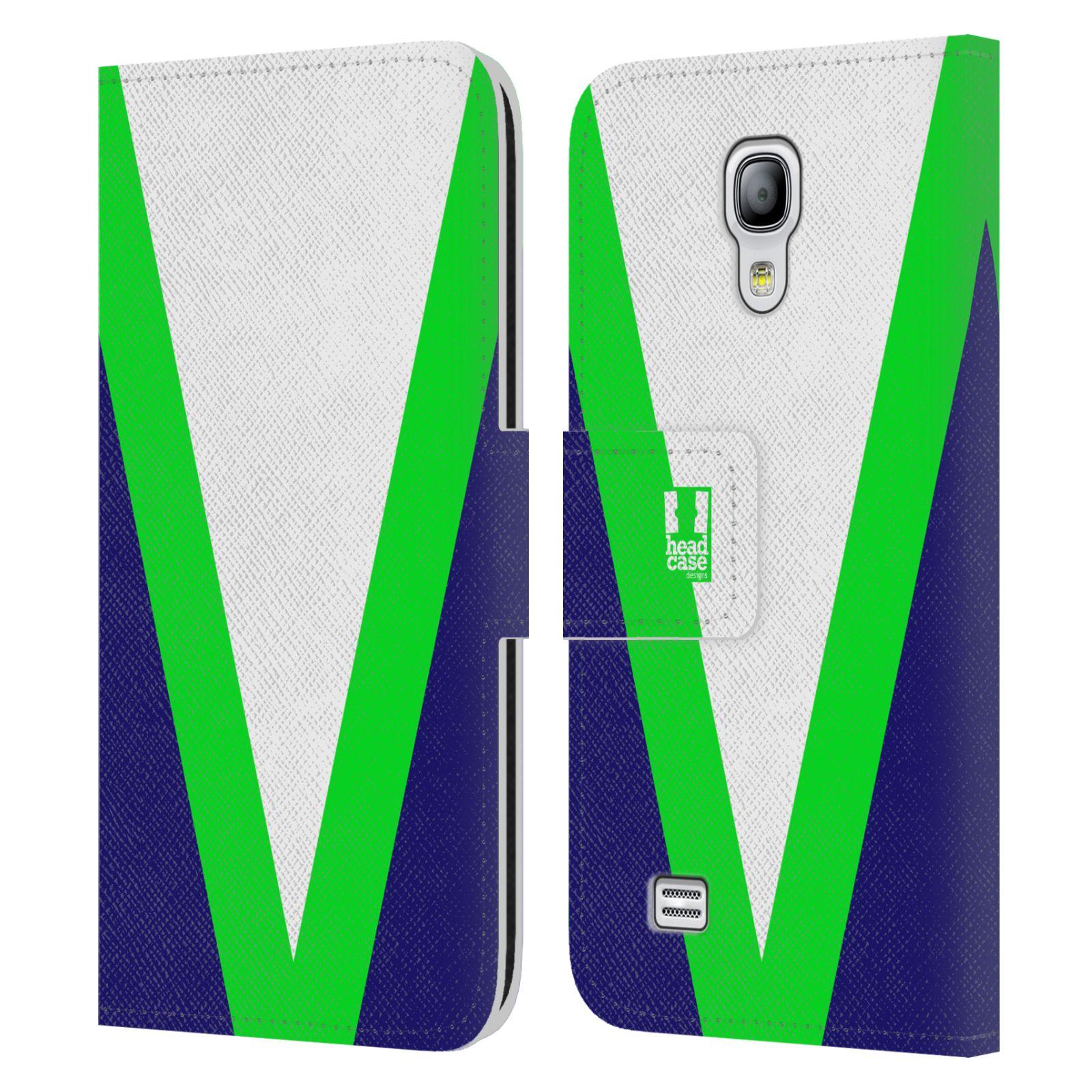 HEAD CASE Flipové pouzdro pro mobil Samsung Galaxy S4 MINI barevné tvary zelená a modrá