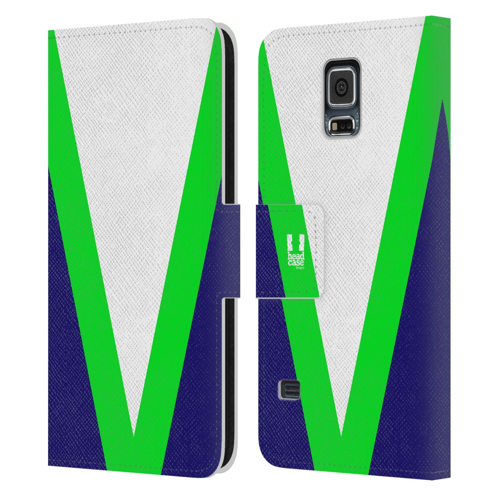 HEAD CASE Flipové pouzdro pro mobil Samsung Galaxy S5 barevné tvary zelená a modrá