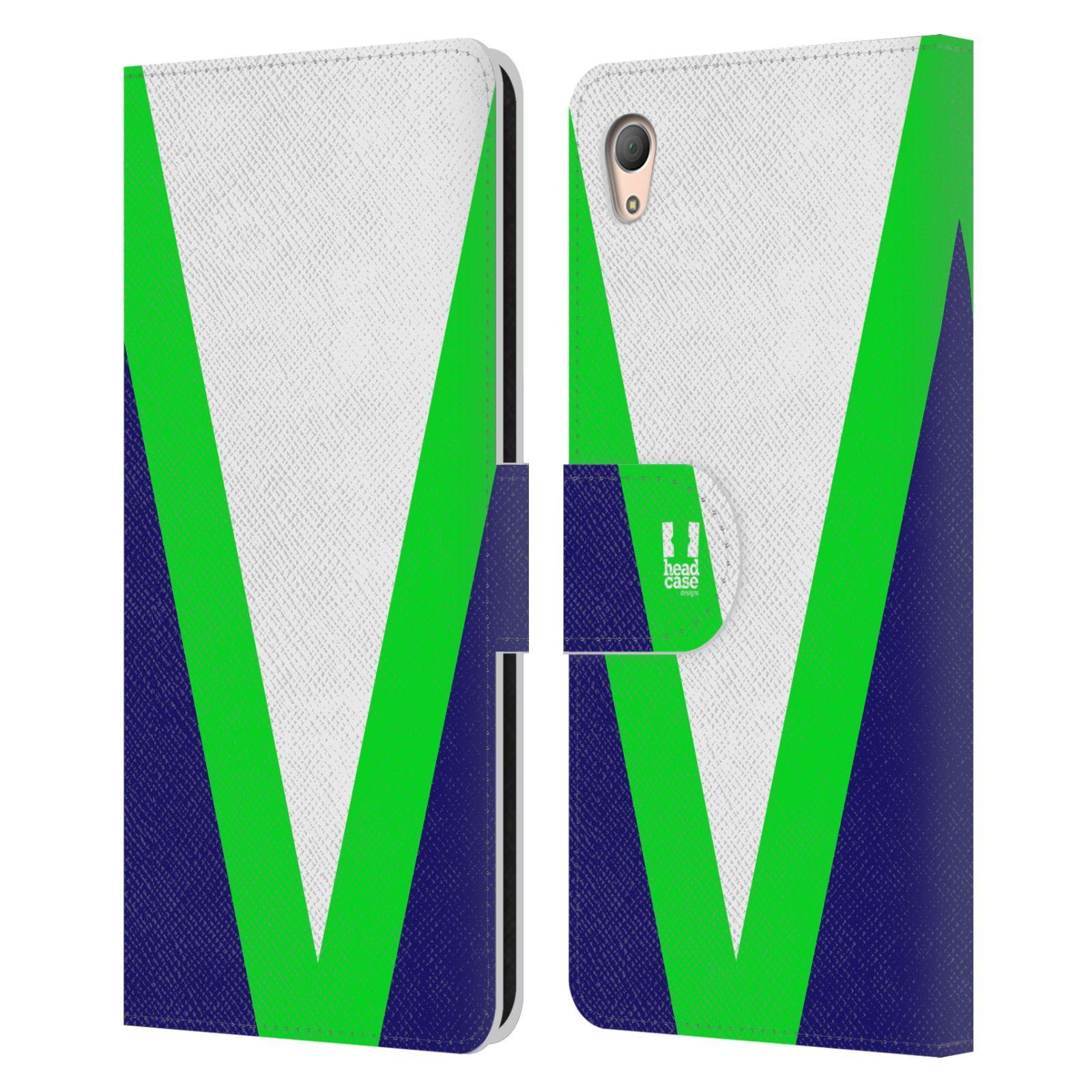 HEAD CASE Flipové pouzdro pro mobil SONY XPERIA Z3+(Z3 PLUS) barevné tvary zelená a modrá