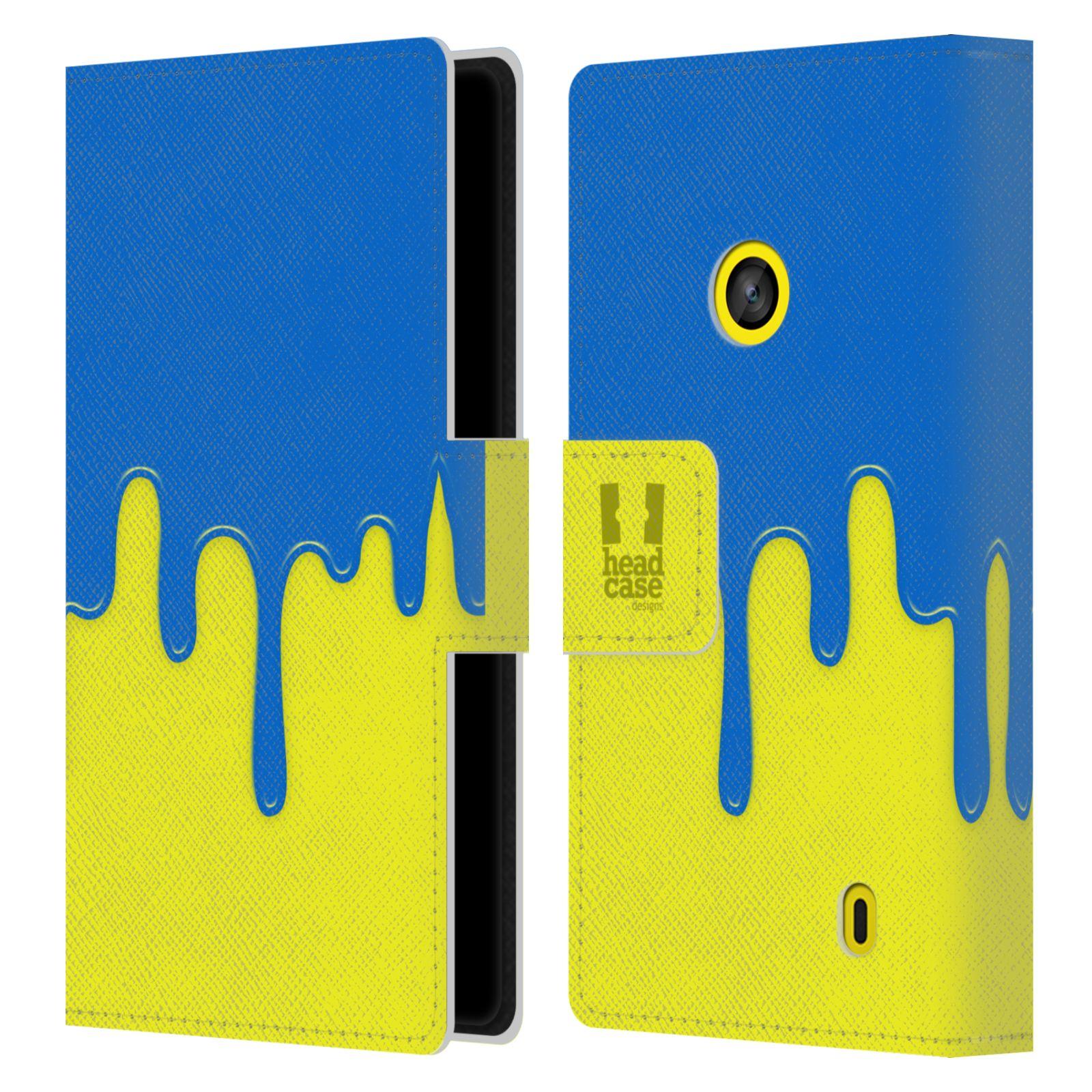HEAD CASE Flipové pouzdro pro mobil NOKIA LUMIA 520 / 525 Rozlitá barva modrá a žlutá