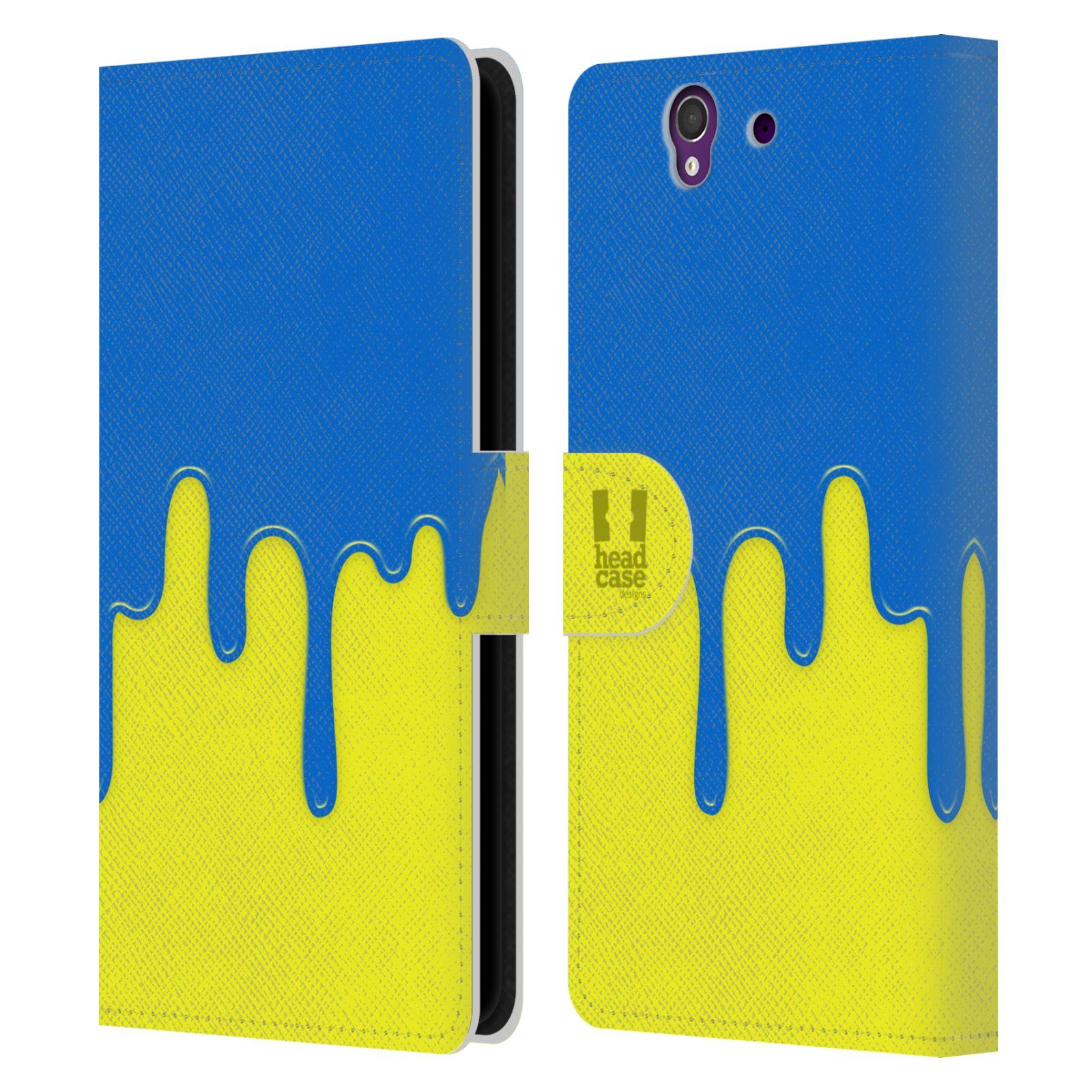HEAD CASE Flipové pouzdro pro mobil SONY XPERIA Z (C6603) Rozlitá barva modrá a žlutá