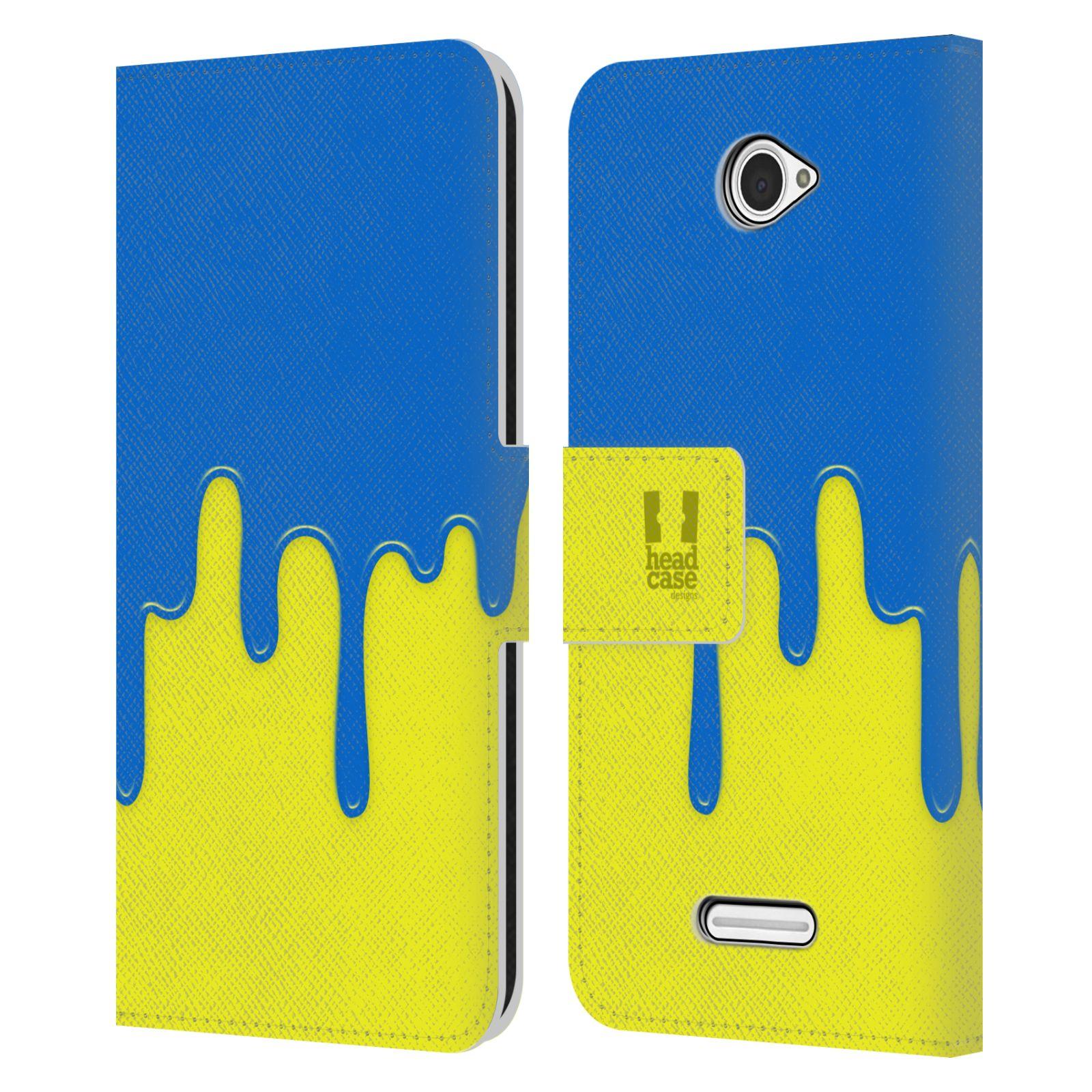HEAD CASE Flipové pouzdro pro mobil SONY XPERIA E4 Rozlitá barva modrá a žlutá