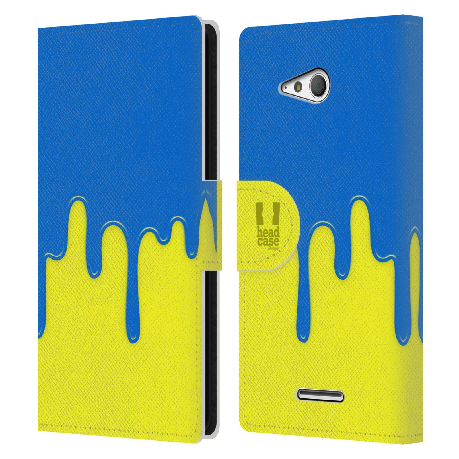 HEAD CASE Flipové pouzdro pro mobil SONY XPERIA E4g Rozlitá barva modrá a žlutá