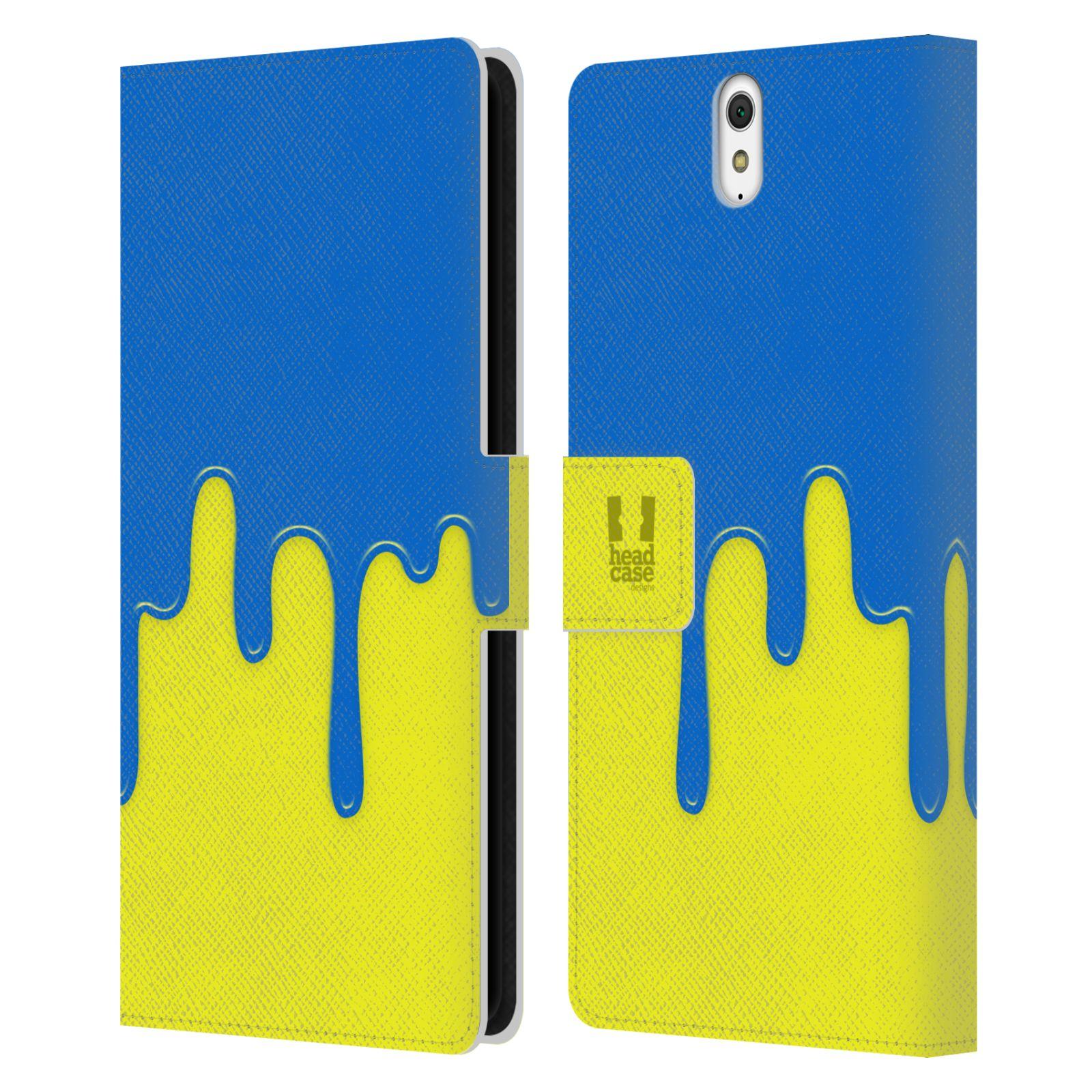 HEAD CASE Flipové pouzdro pro mobil SONY XPERIA C5 Ultra Rozlitá barva modrá a žlutá