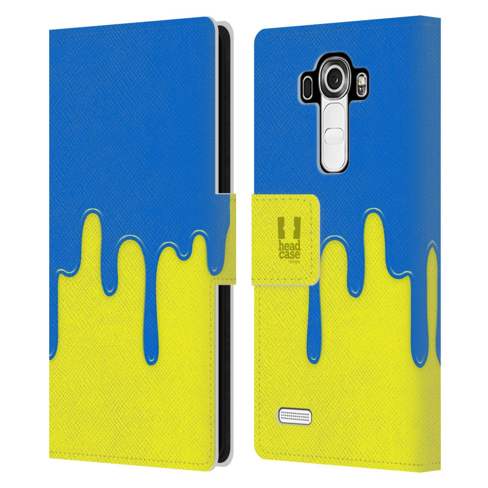 HEAD CASE Flipové pouzdro pro mobil LG G4 (H815) Rozlitá barva modrá a žlutá
