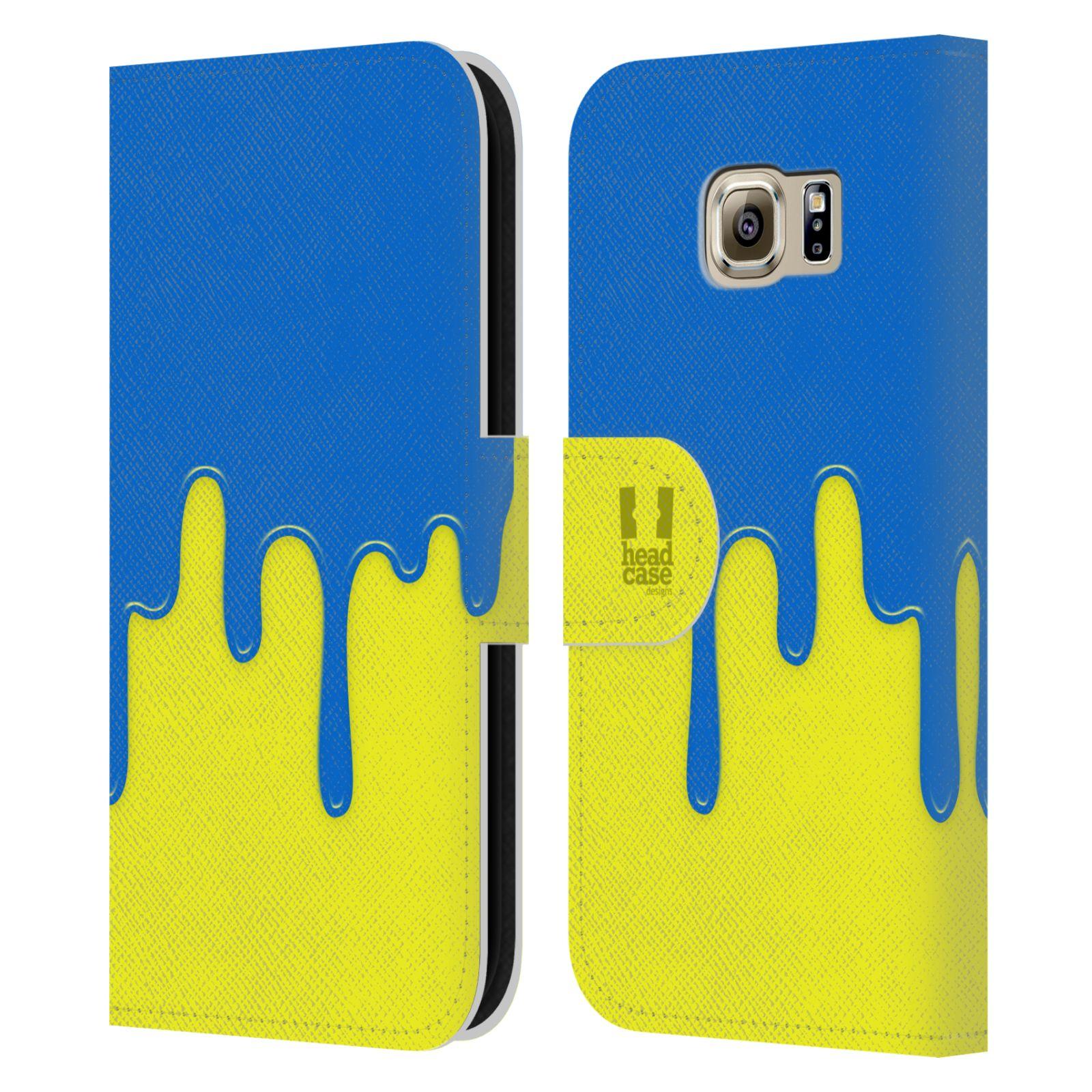 HEAD CASE Flipové pouzdro pro mobil Samsung Galaxy S6 (G9200) Rozlitá barva modrá a žlutá