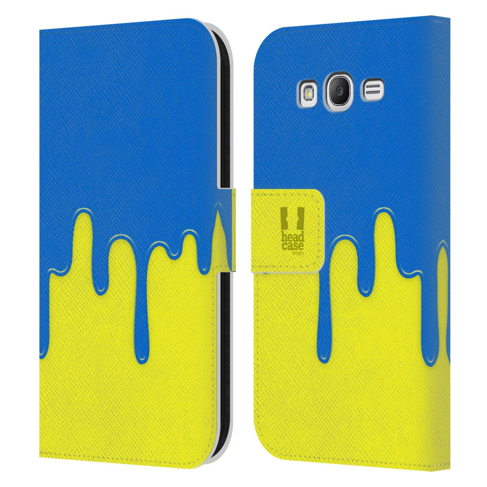 HEAD CASE Flipové pouzdro pro mobil Samsung Galaxy Grand i9080 Rozlitá barva modrá a žlutá