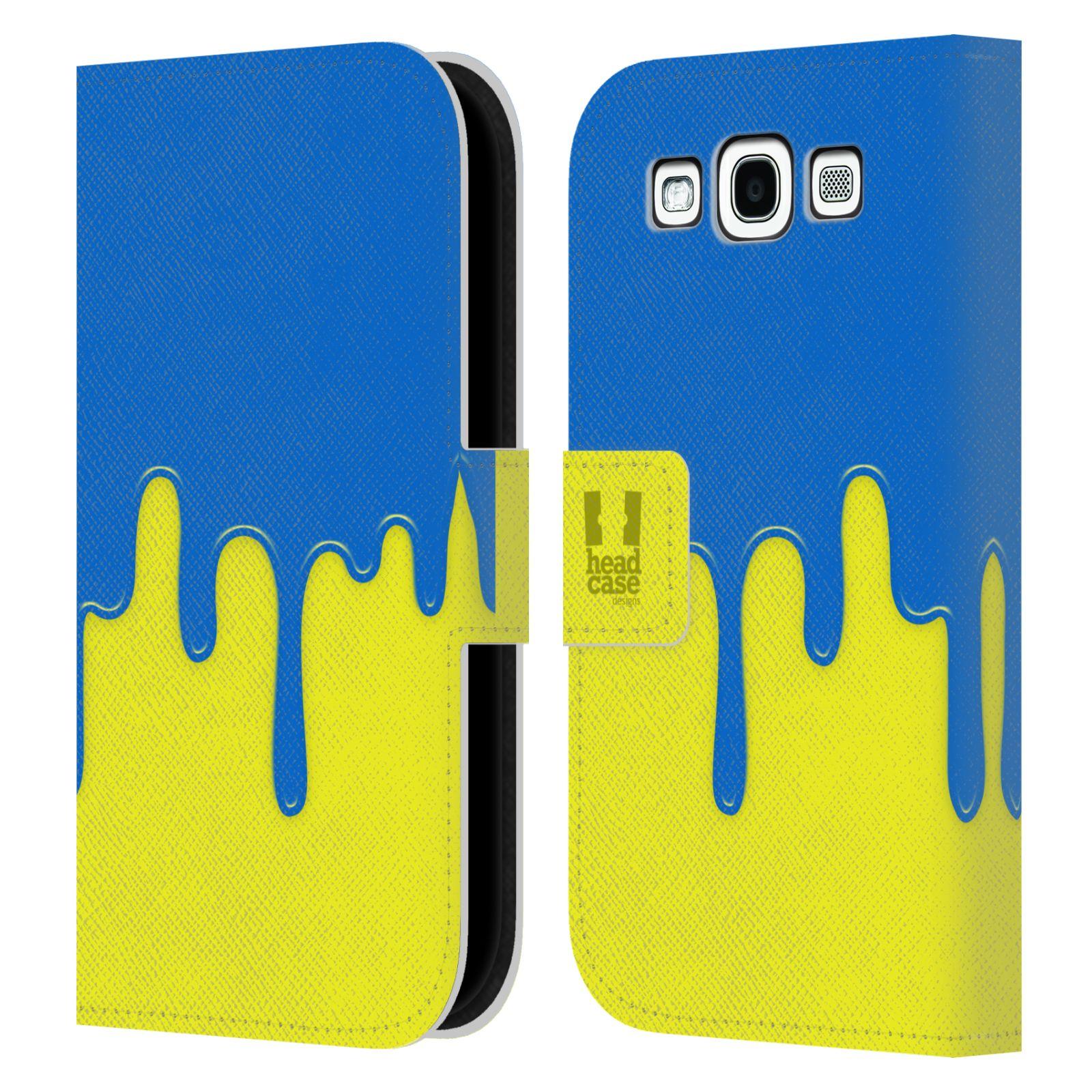 HEAD CASE Flipové pouzdro pro mobil Samsung Galaxy S3 Rozlitá barva modrá a žlutá