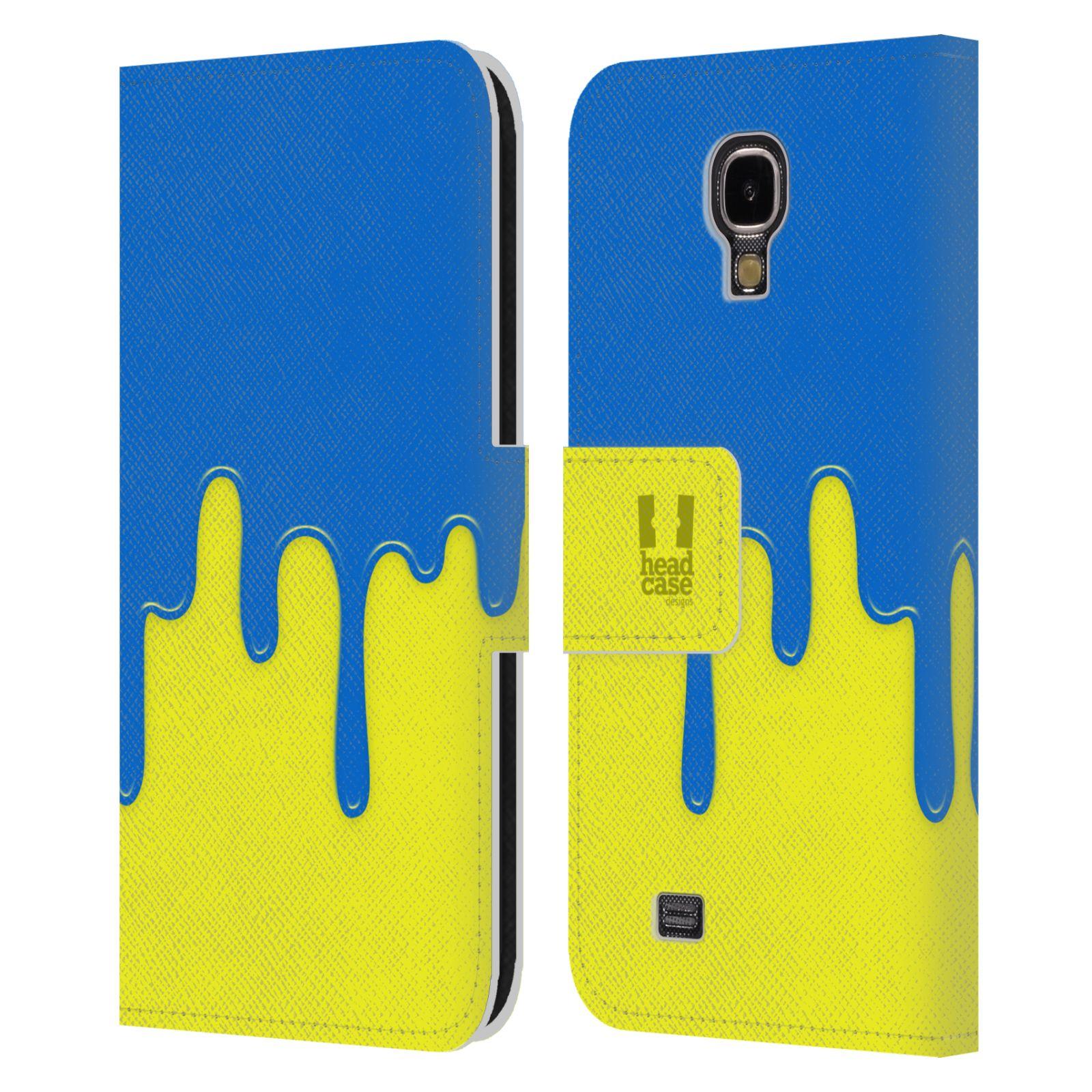HEAD CASE Flipové pouzdro pro mobil Samsung Galaxy S4 Rozlitá barva modrá a žlutá