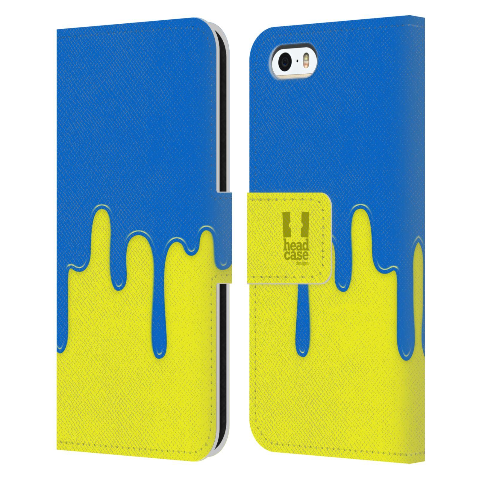 HEAD CASE Flipové pouzdro pro mobil Apple Iphone 5/5s Rozlitá barva modrá a žlutá