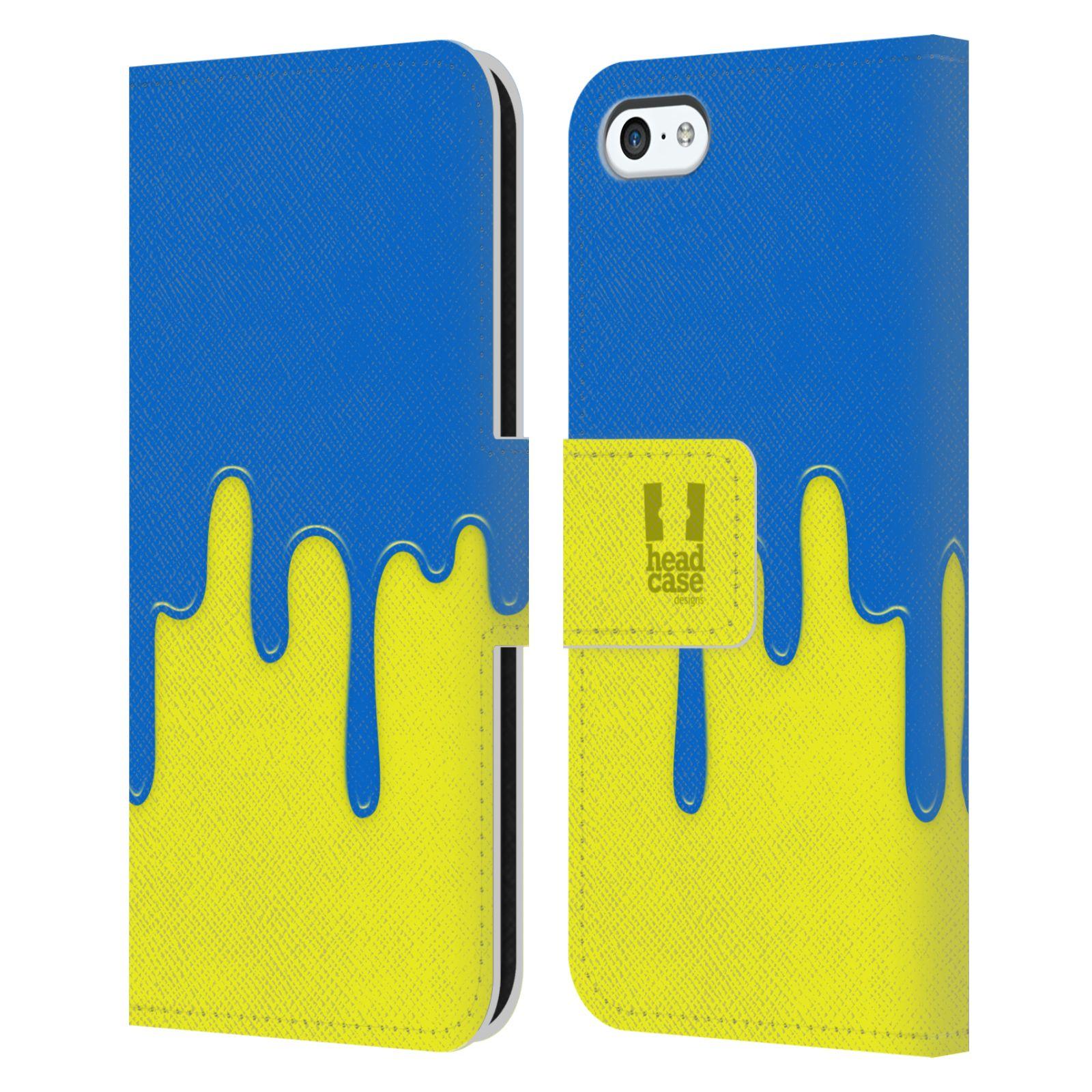 HEAD CASE Flipové pouzdro pro mobil Apple Iphone 5C Rozlitá barva modrá a žlutá