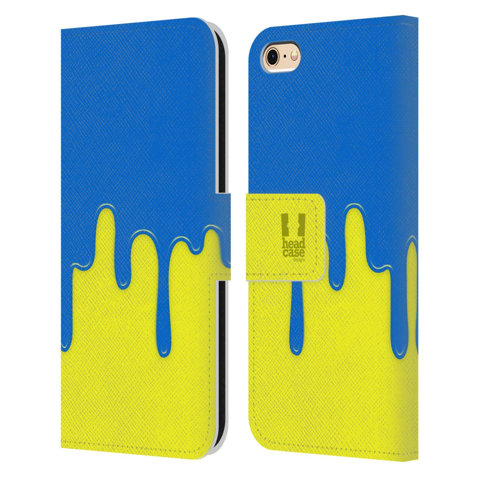 HEAD CASE Flipové pouzdro pro mobil Apple Iphone 6/6s Rozlitá barva modrá a žlutá