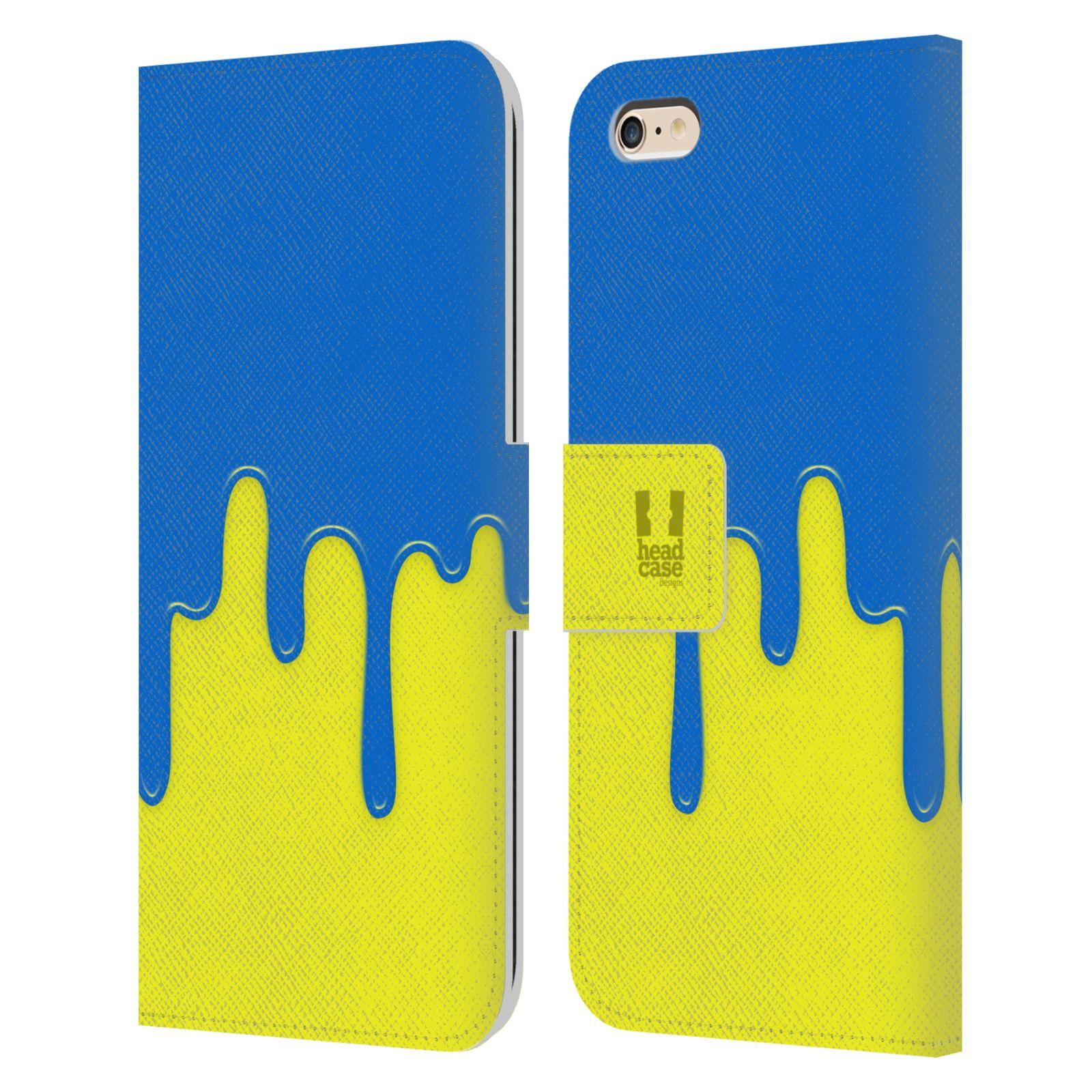 HEAD CASE Flipové pouzdro pro mobil Apple Iphone 6 PLUS / 6S PLUS Rozlitá barva modrá a žlutá