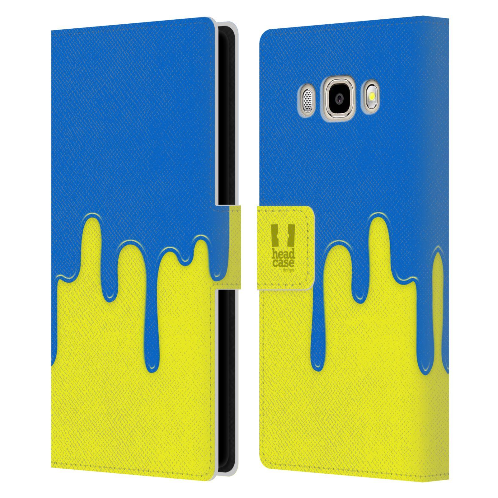 HEAD CASE Flipové pouzdro pro mobil Samsung Galaxy J5 2016 Rozlitá barva modrá a žlutá
