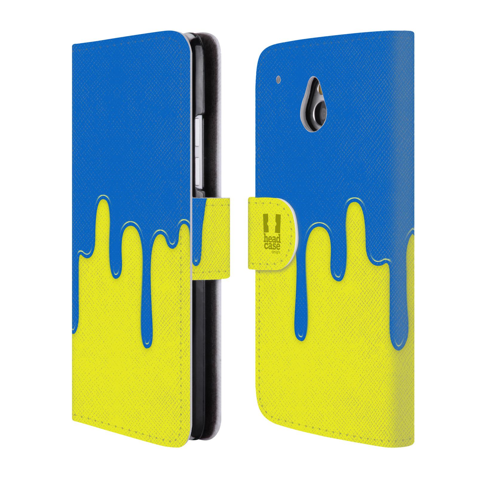 HEAD CASE Flipové pouzdro pro mobil HTC ONE MINI (M4) Rozlitá barva modrá a žlutá
