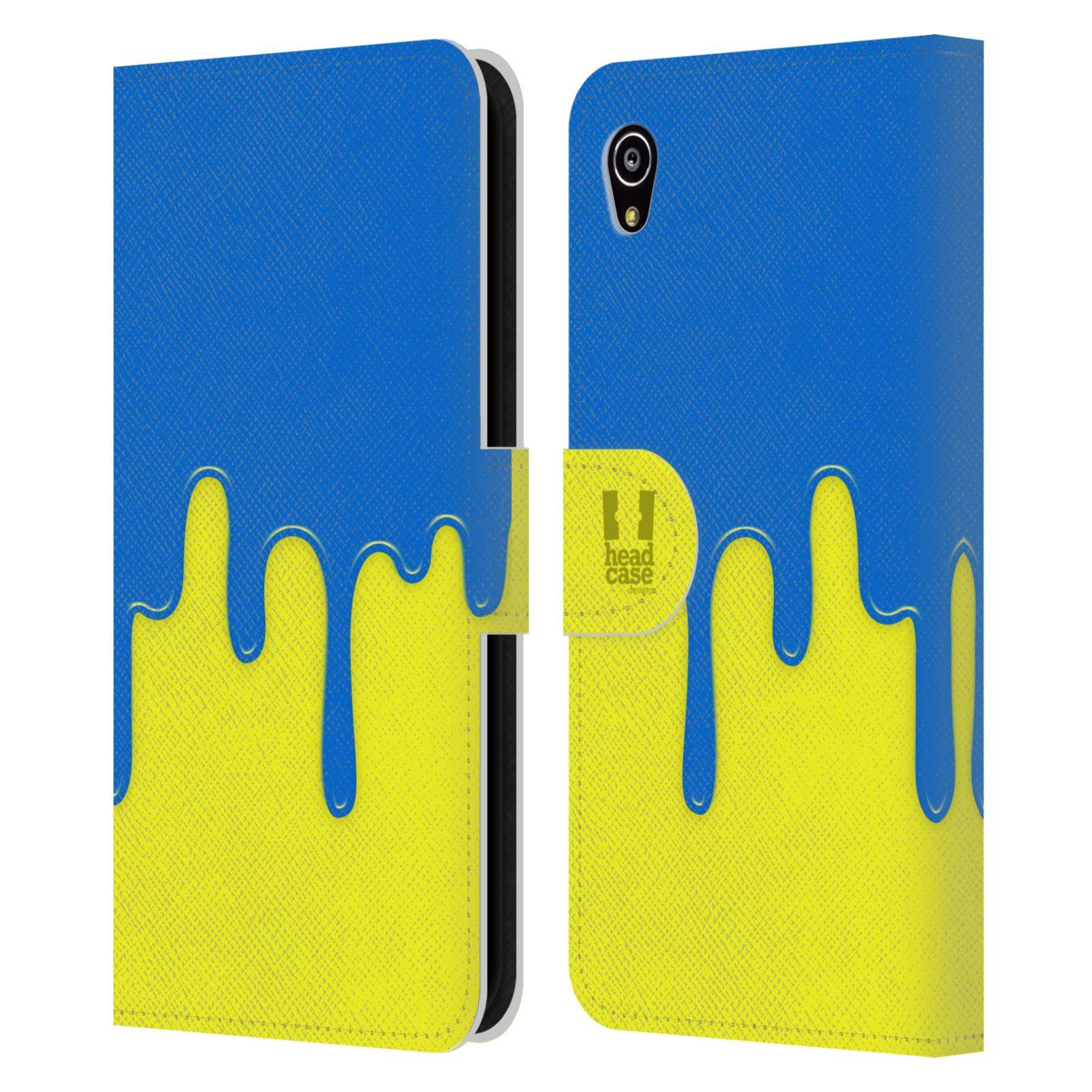 HEAD CASE Flipové pouzdro pro mobil SONY XPERIA M4 AQUA Rozlitá barva modrá a žlutá