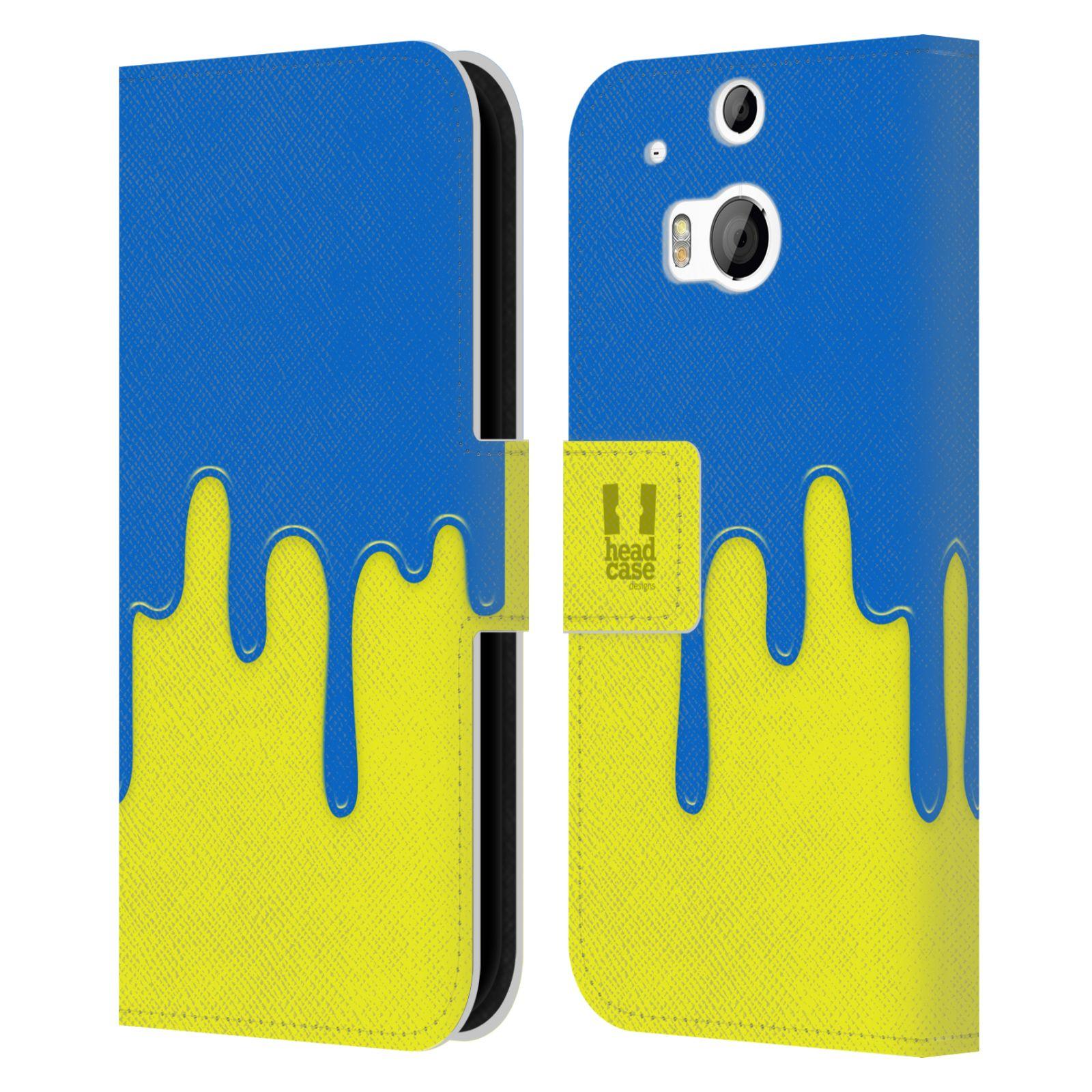 HEAD CASE Flipové pouzdro pro mobil HTC ONE (M8, M8s) Rozlitá barva modrá a žlutá