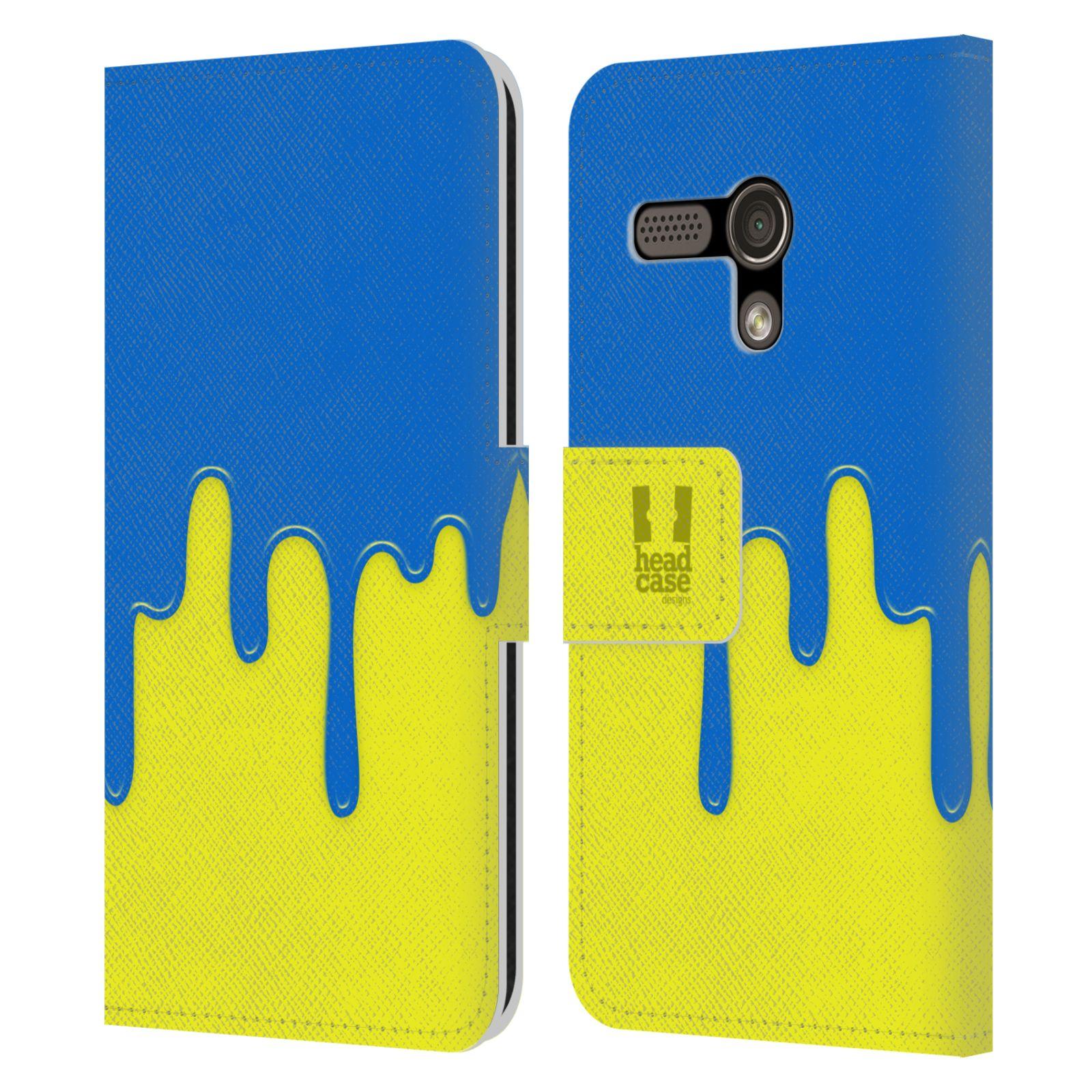 HEAD CASE Flipové pouzdro pro mobil MOTOROLA MOTO G Rozlitá barva modrá a žlutá