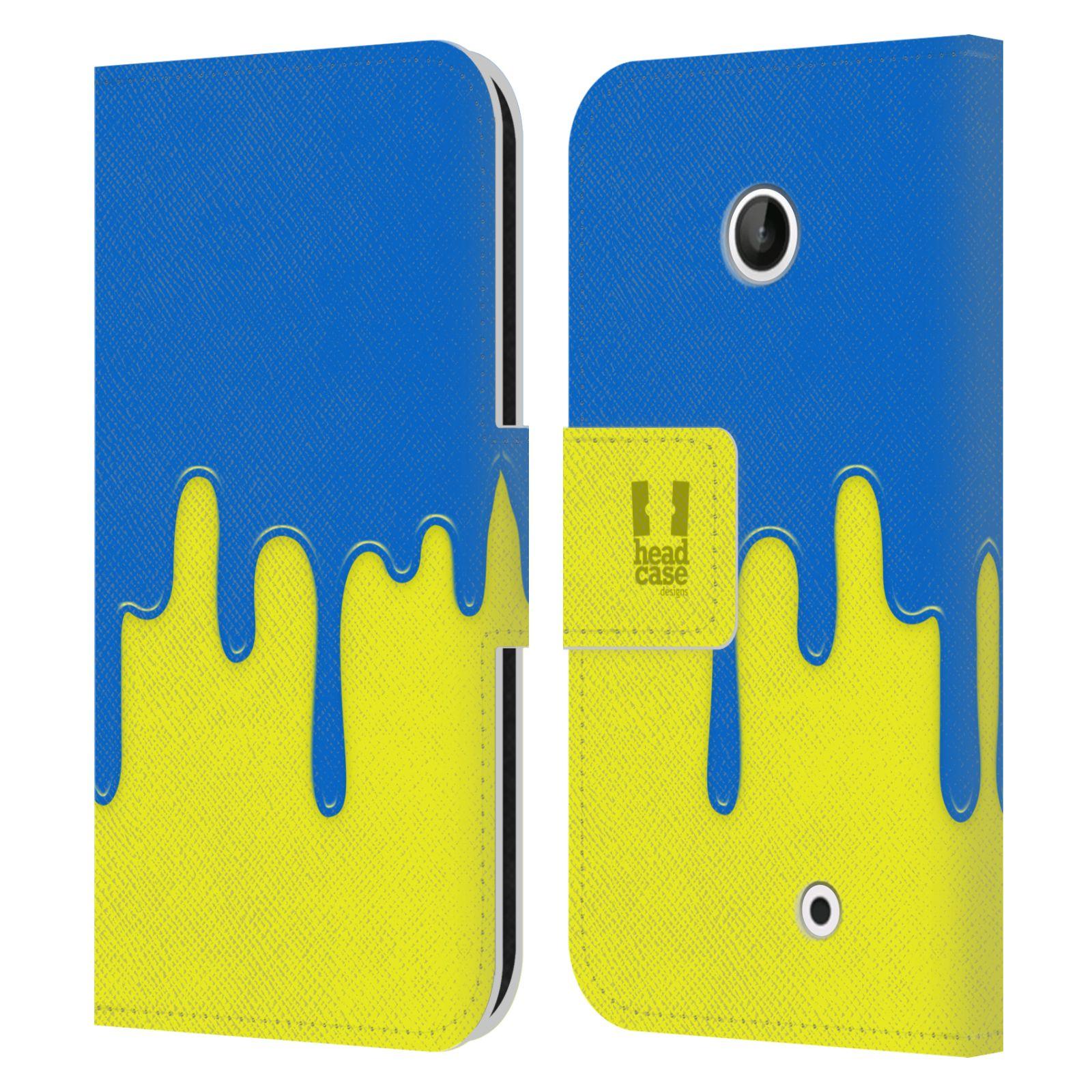 HEAD CASE Flipové pouzdro pro mobil NOKIA LUMIA 630 / LUMIA 630 DUAL Rozlitá barva modrá a žlutá