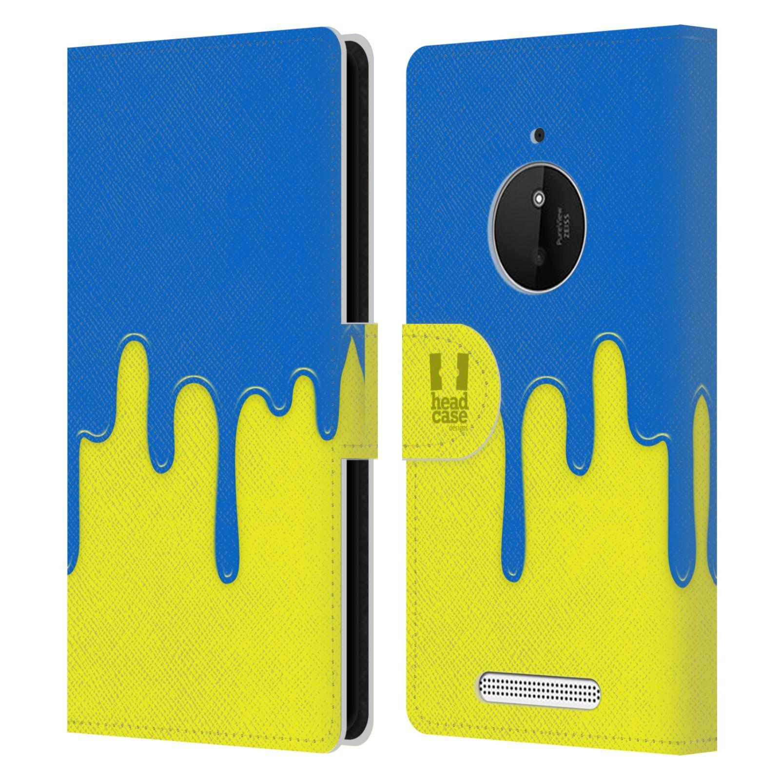 HEAD CASE Flipové pouzdro pro mobil NOKIA LUMIA 830 Rozlitá barva modrá a žlutá