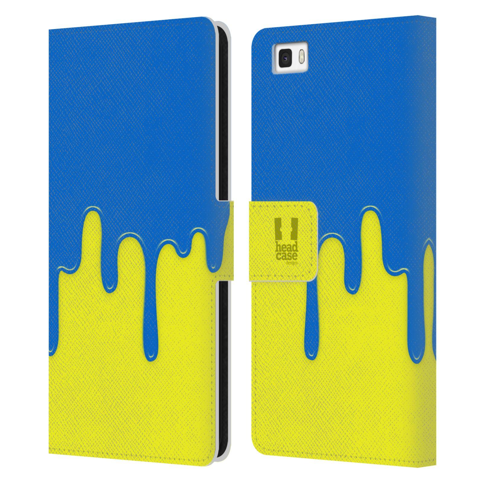 HEAD CASE Flipové pouzdro pro mobil Huawei P8 LITE Rozlitá barva modrá a žlutá