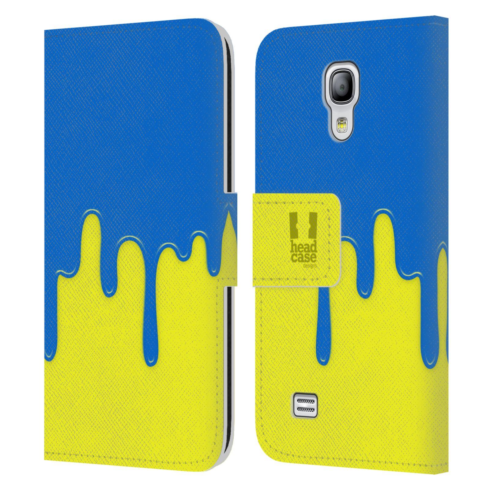 HEAD CASE Flipové pouzdro pro mobil Samsung Galaxy S4 MINI / S4 MINI DUOS Rozlitá barva modrá a žlutá