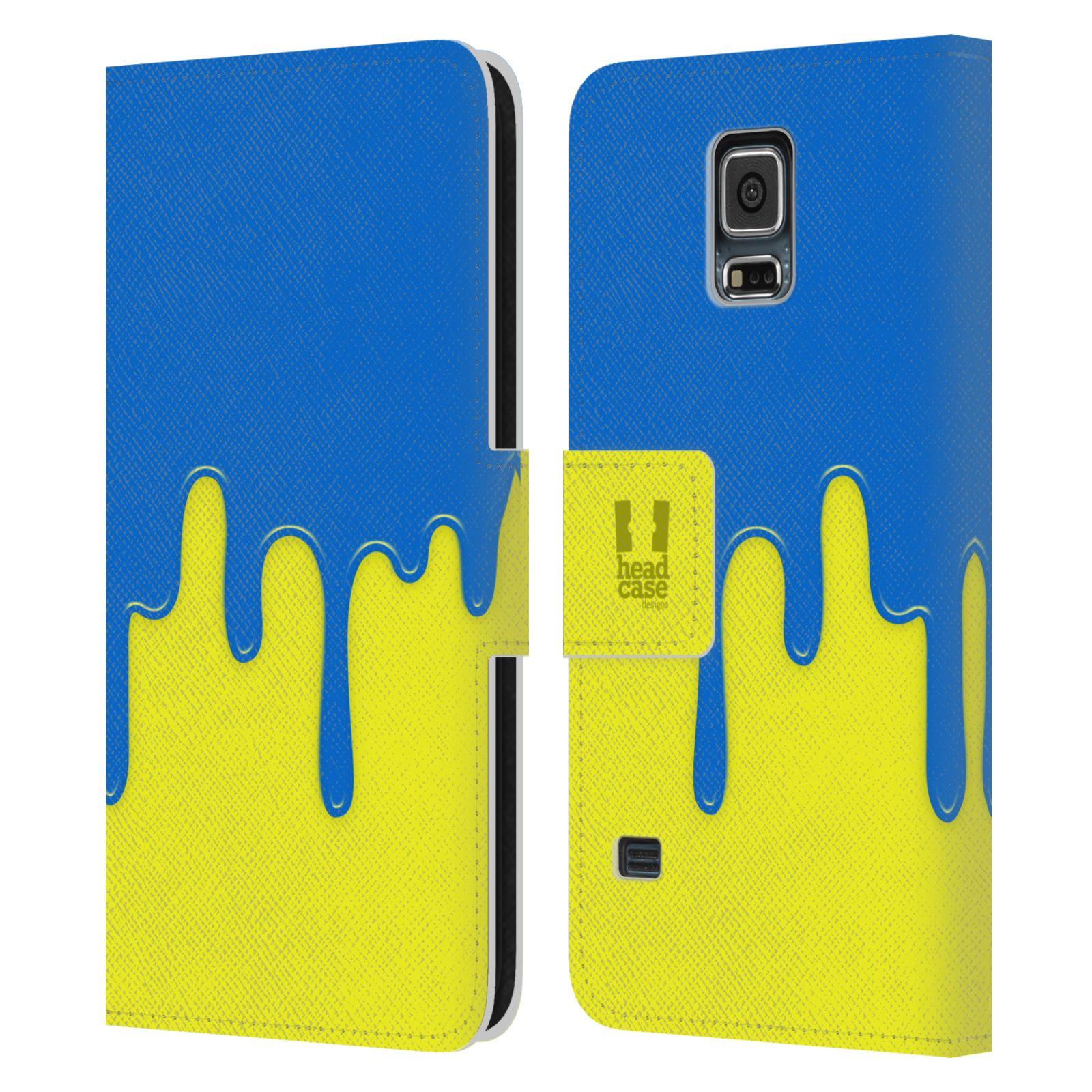 HEAD CASE Flipové pouzdro pro mobil Samsung Galaxy S5 / S5 NEO Rozlitá barva modrá a žlutá